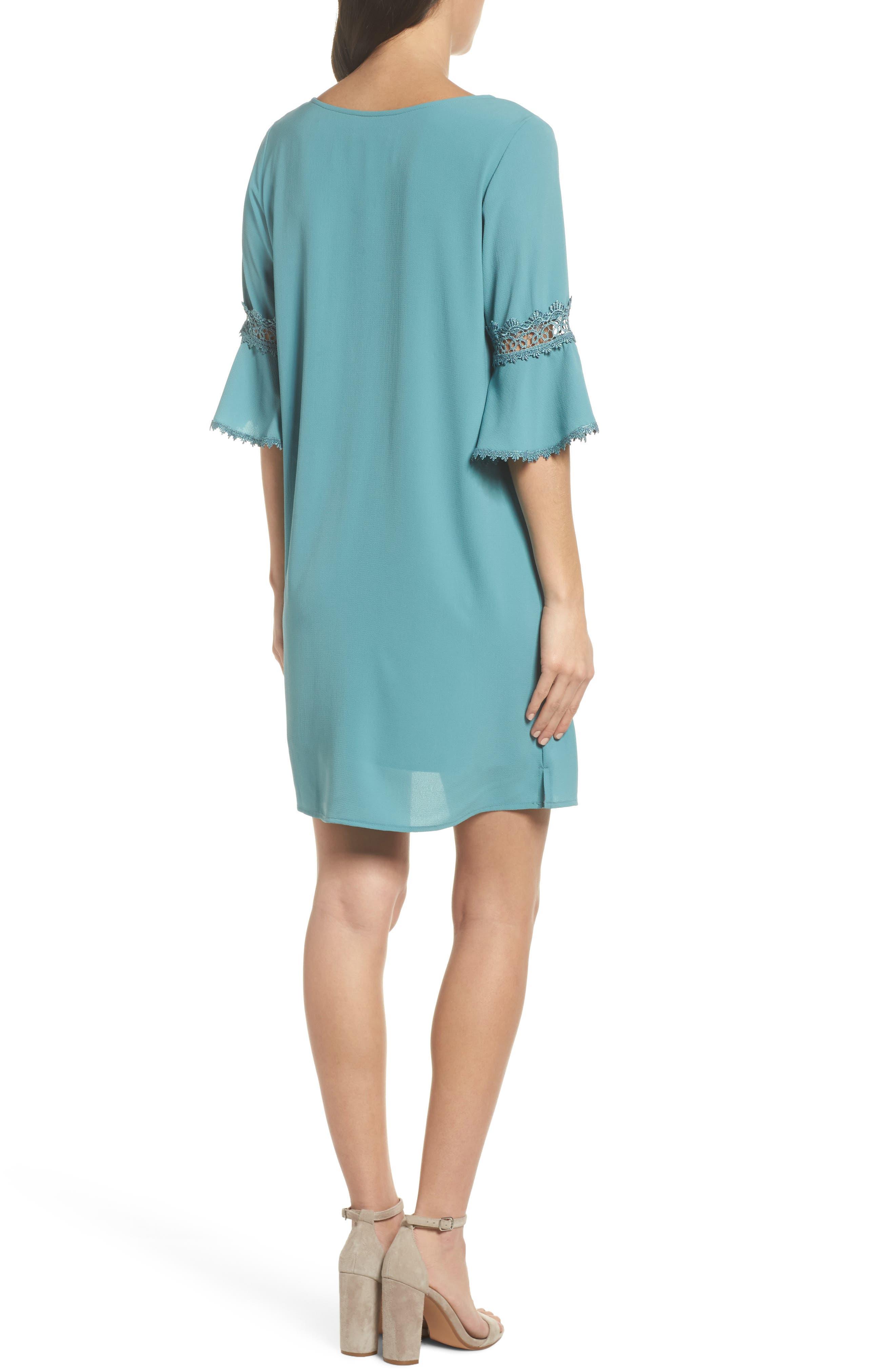 Bell Sleeve Shift Dress,                             Alternate thumbnail 6, color,