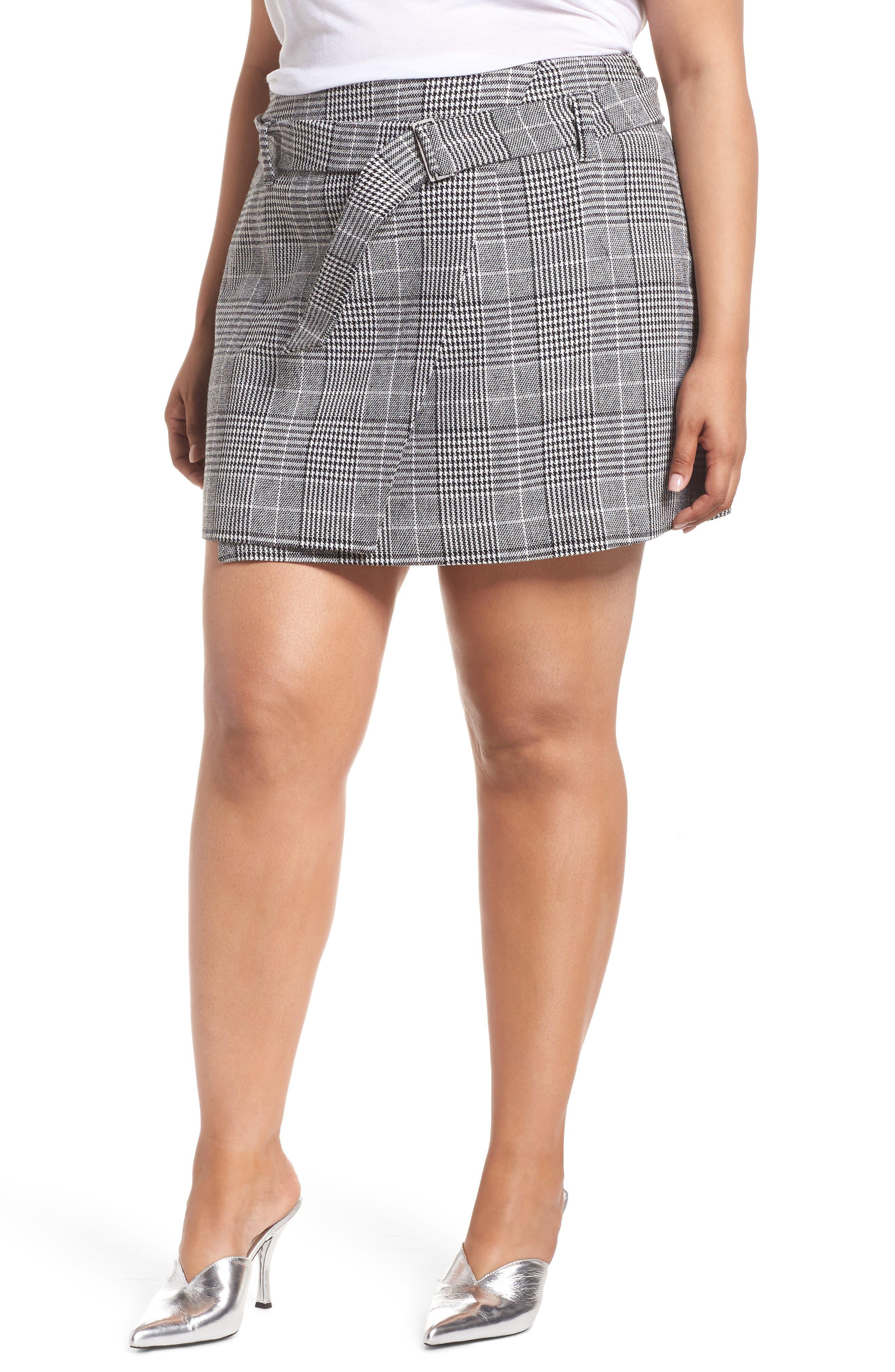 Plaid Miniskirt,                             Alternate thumbnail 2, color,                             BLACK SHAROL PLAID