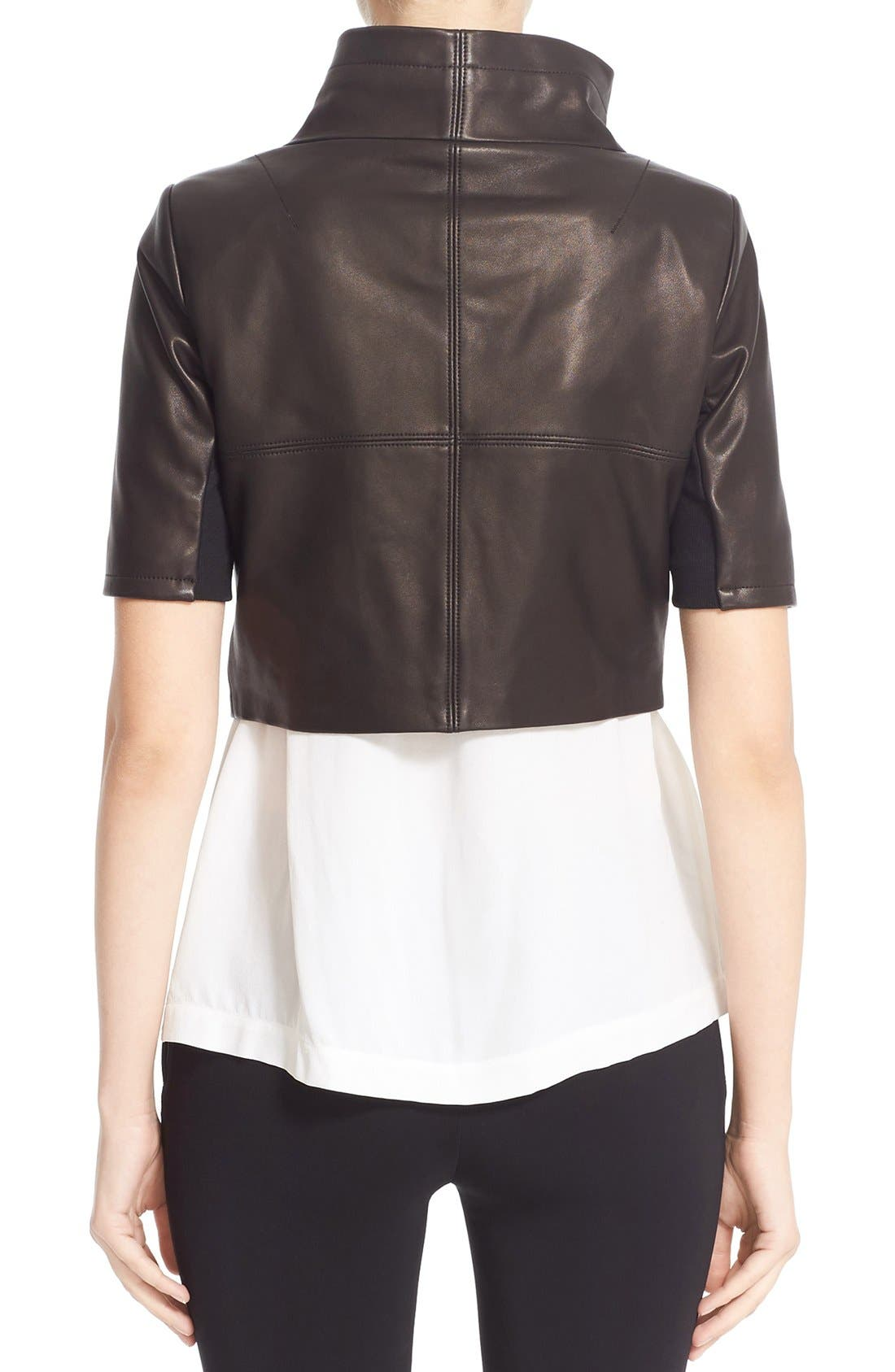 'Gimmy' Crop Lambskin Leather Jacket,                             Alternate thumbnail 3, color,                             006