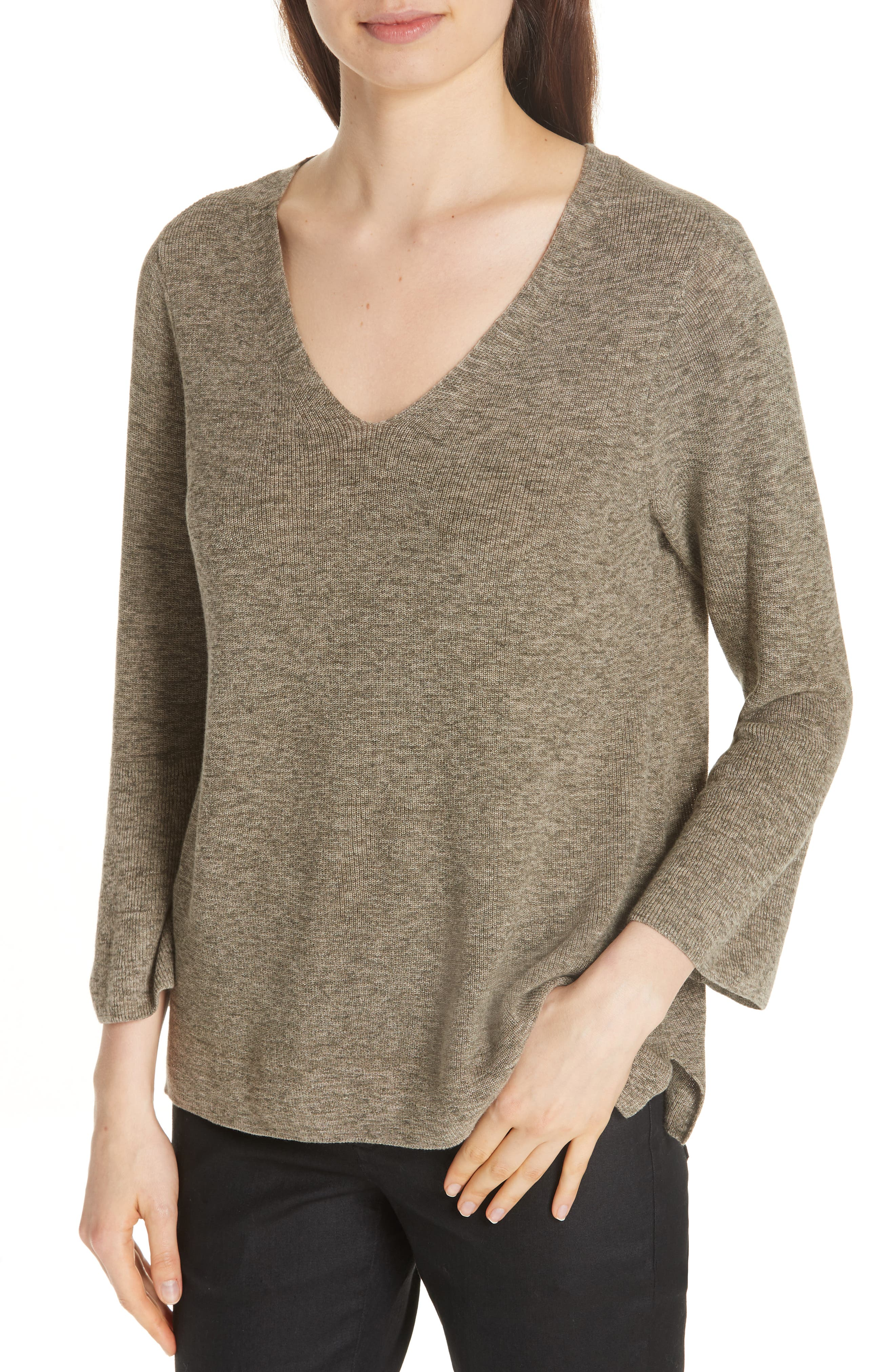 Bell Cuff Organic Cotton Sweater,                             Alternate thumbnail 4, color,                             OLIVE