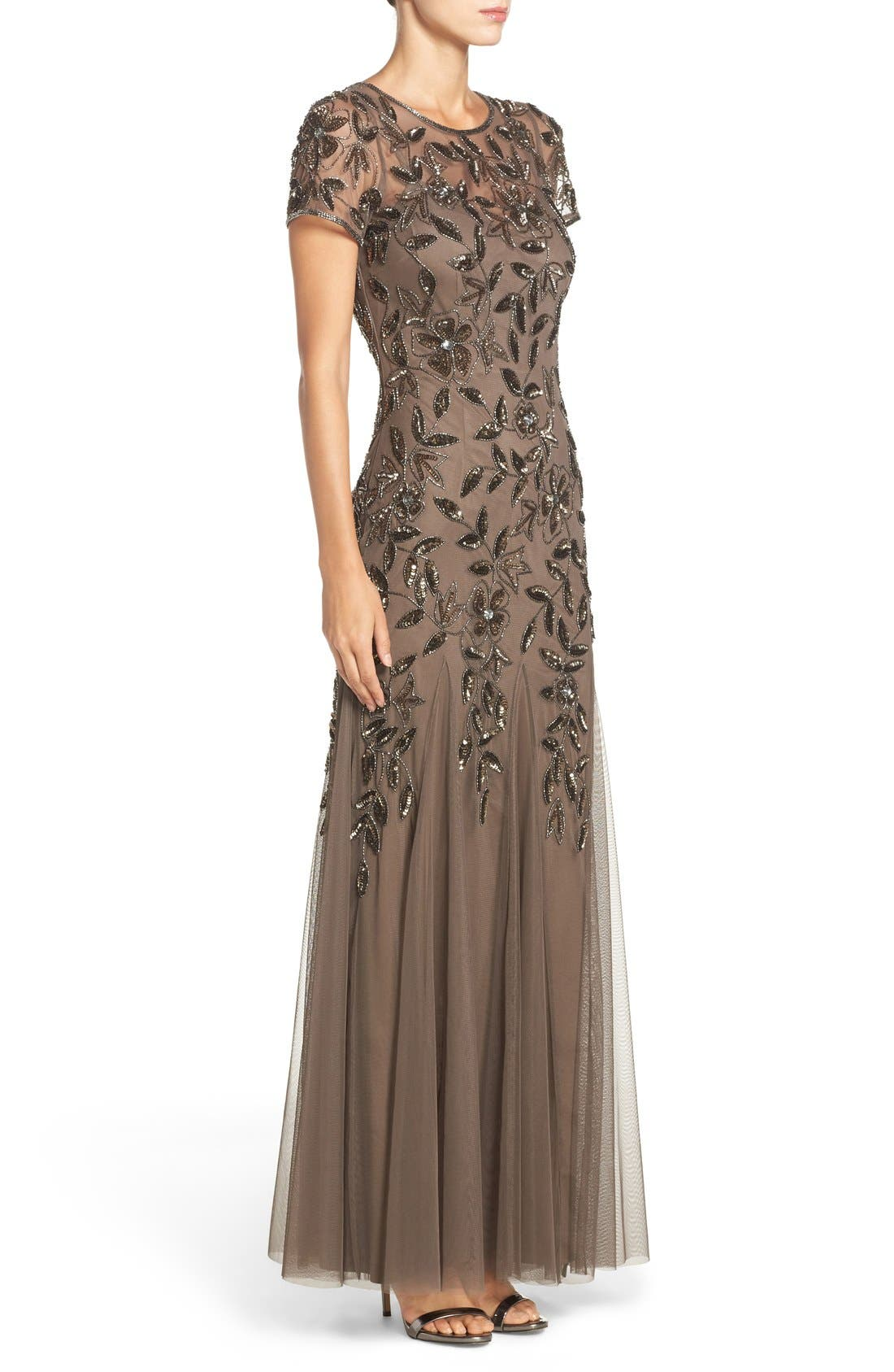Floral Beaded Trumpet Gown,                             Alternate thumbnail 24, color,
