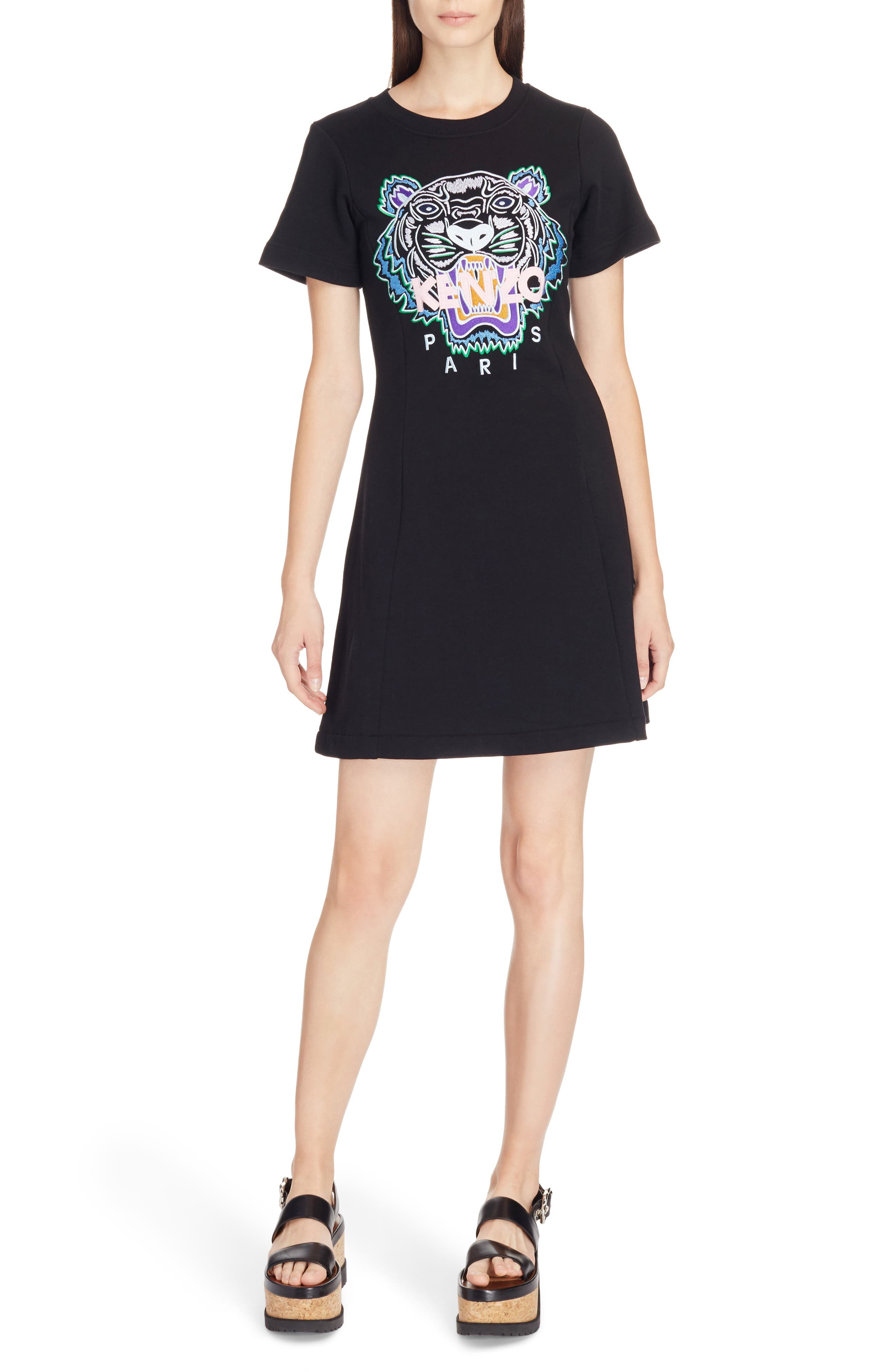 Tiger Flare Embroidered T-Shirt Dress,                         Main,                         color, BLACK