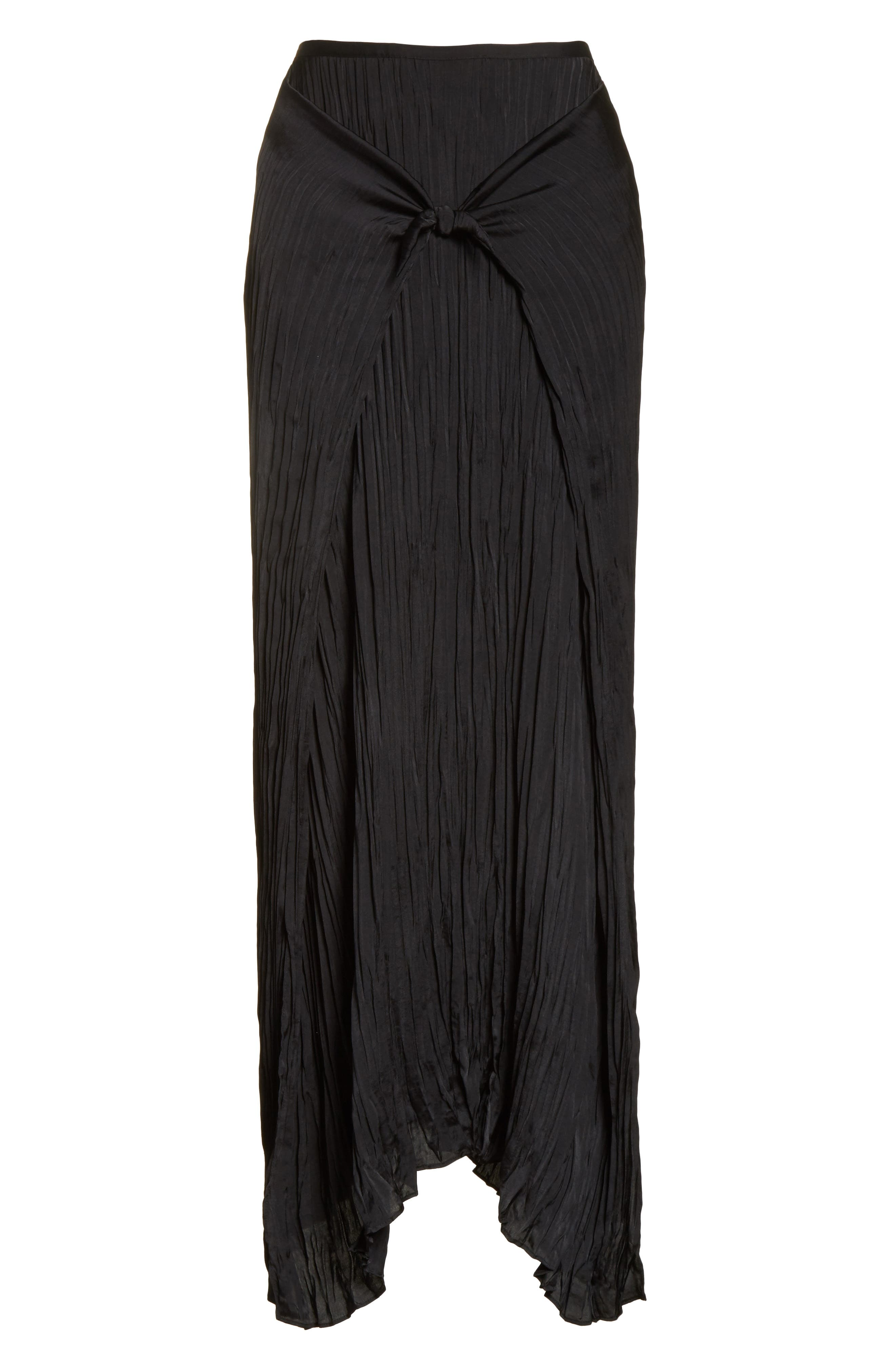 Pleated Tie Front Midi Skirt,                             Alternate thumbnail 6, color,                             001