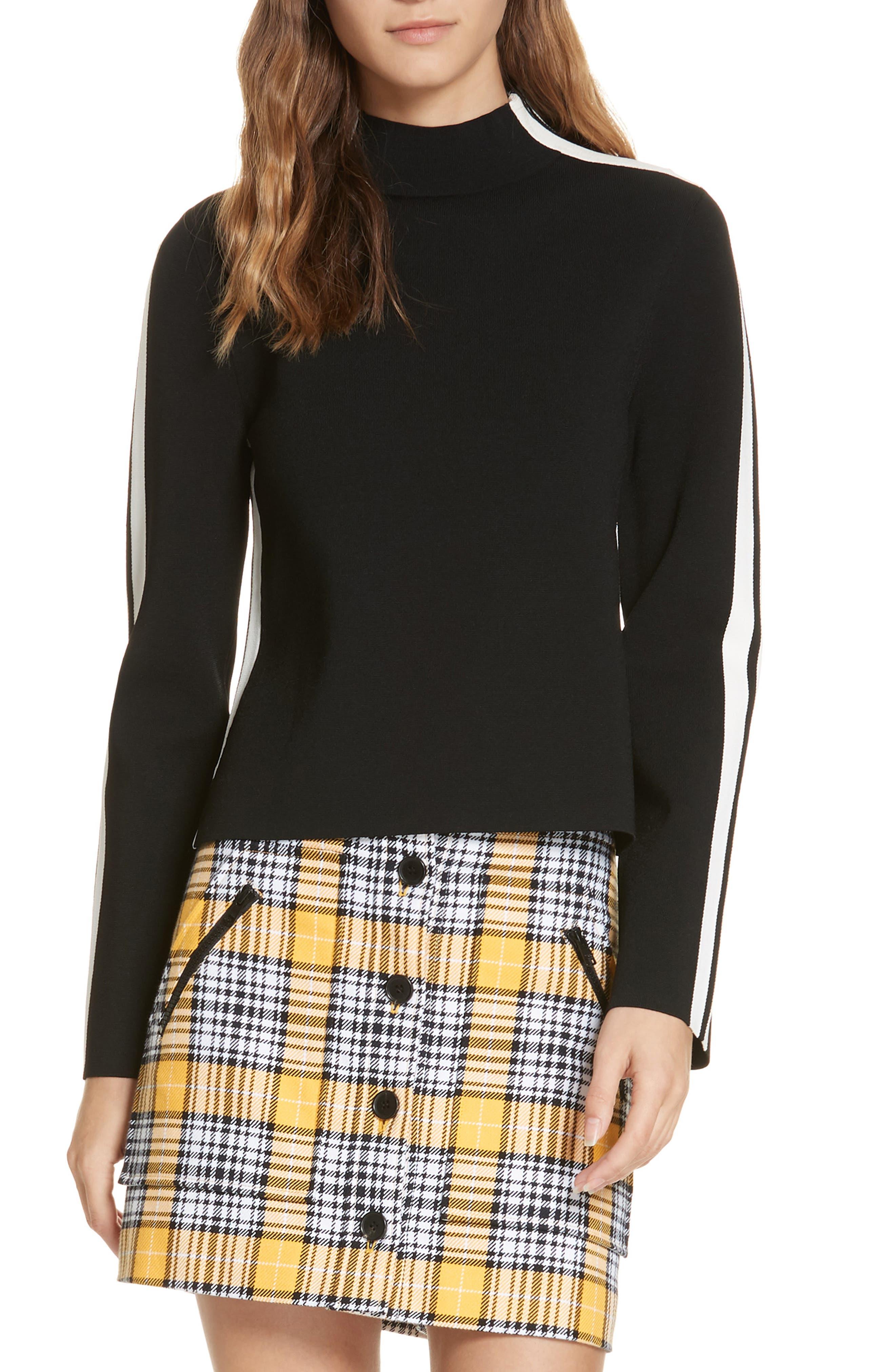 Retha Side Stripe Sweater,                             Main thumbnail 1, color,                             BLACK