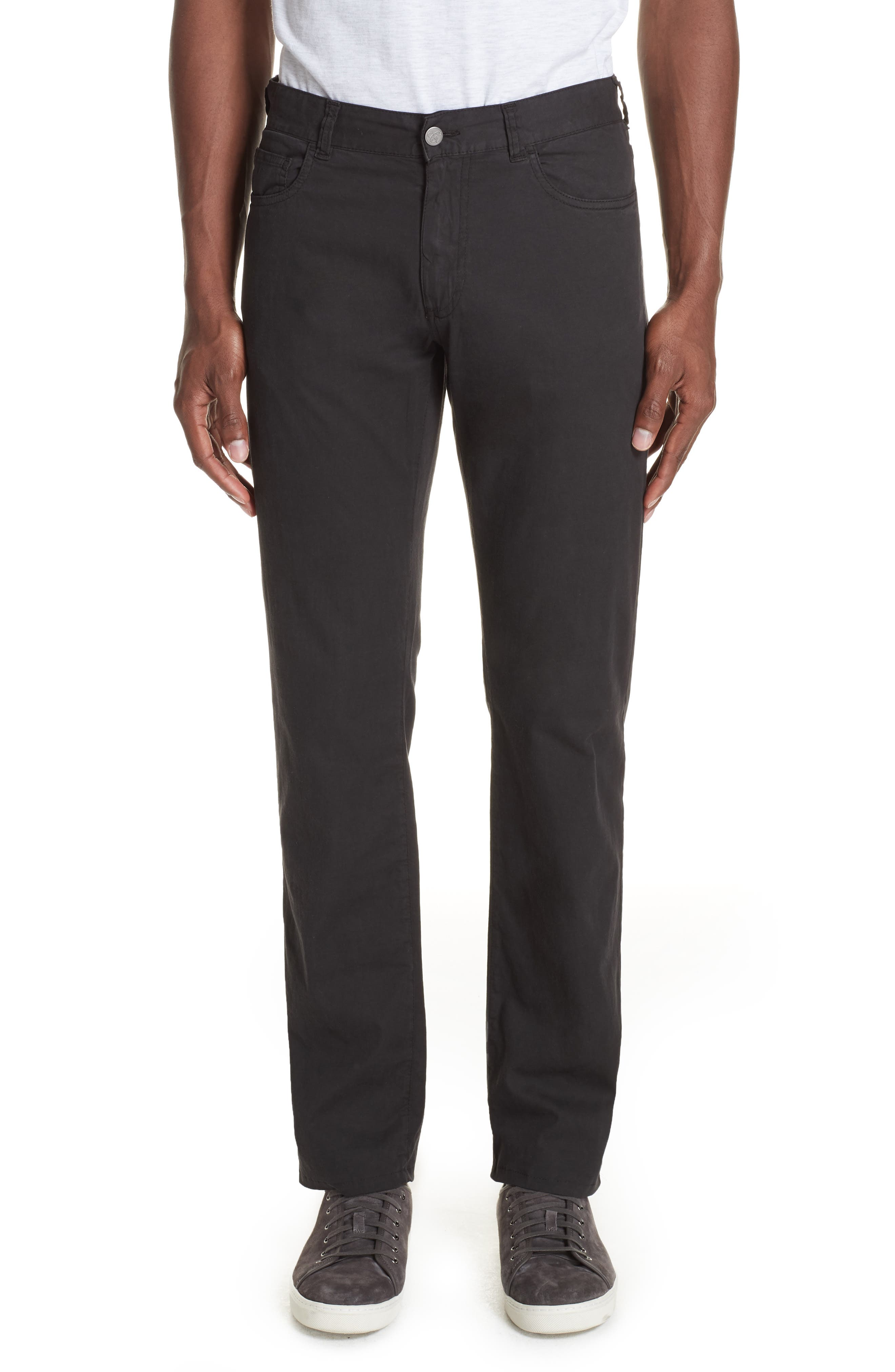 Stretch Cotton & Silk Five Pocket Trousers,                         Main,                         color, BLACK