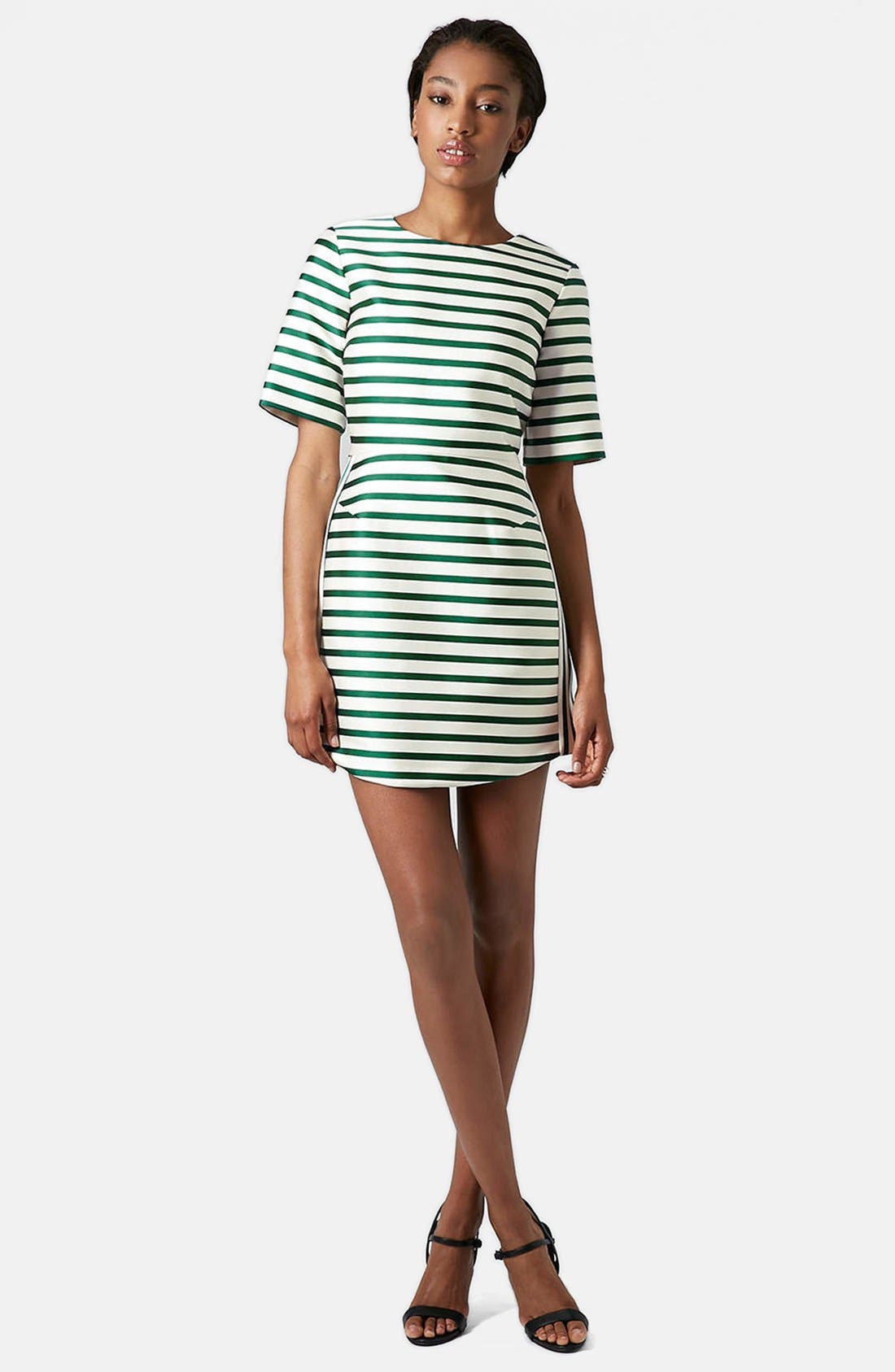 Stripe Satin Dress,                             Alternate thumbnail 5, color,