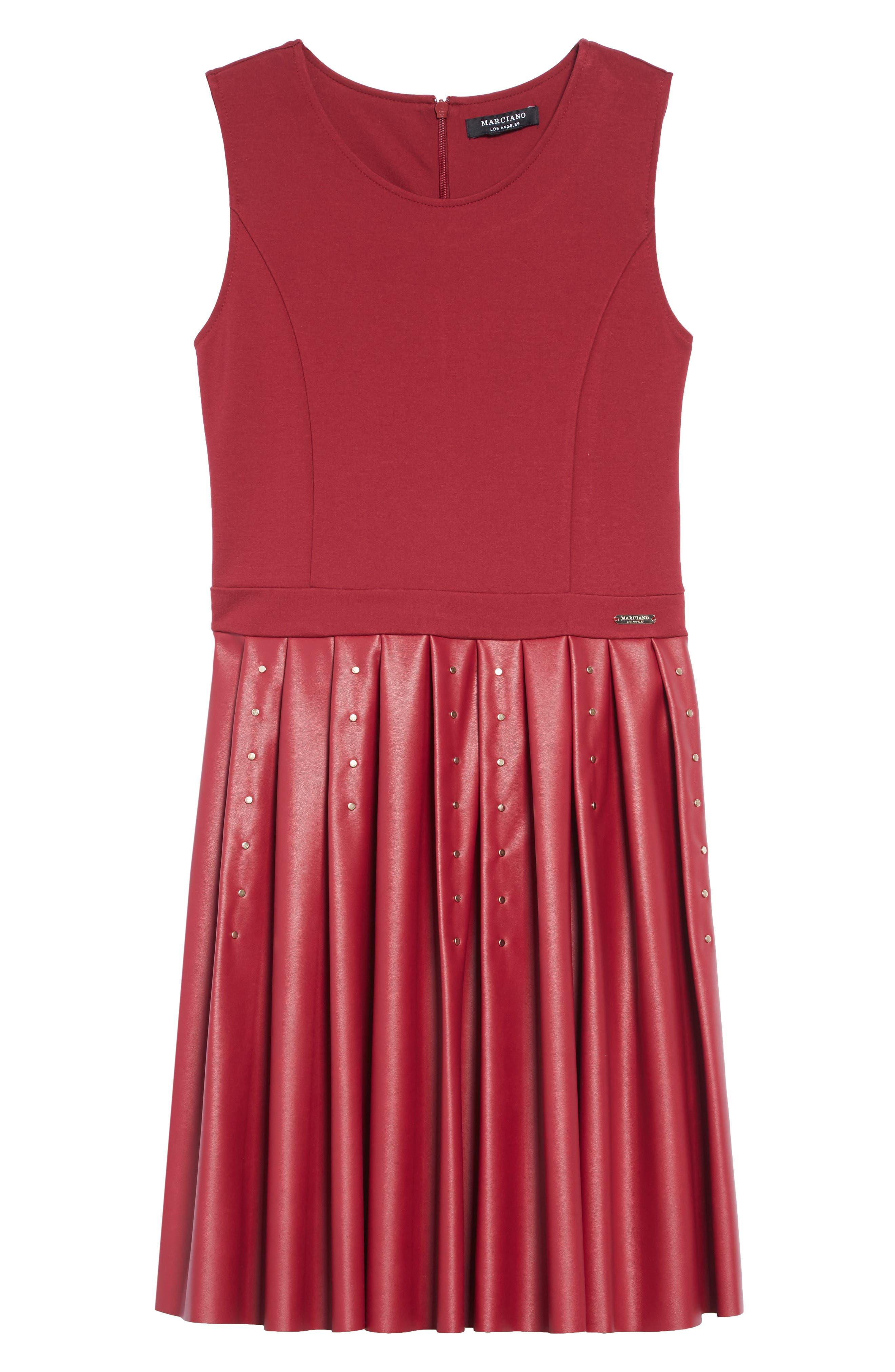 Studded Ponte & Faux Leather Dress,                             Main thumbnail 1, color,                             VIPU