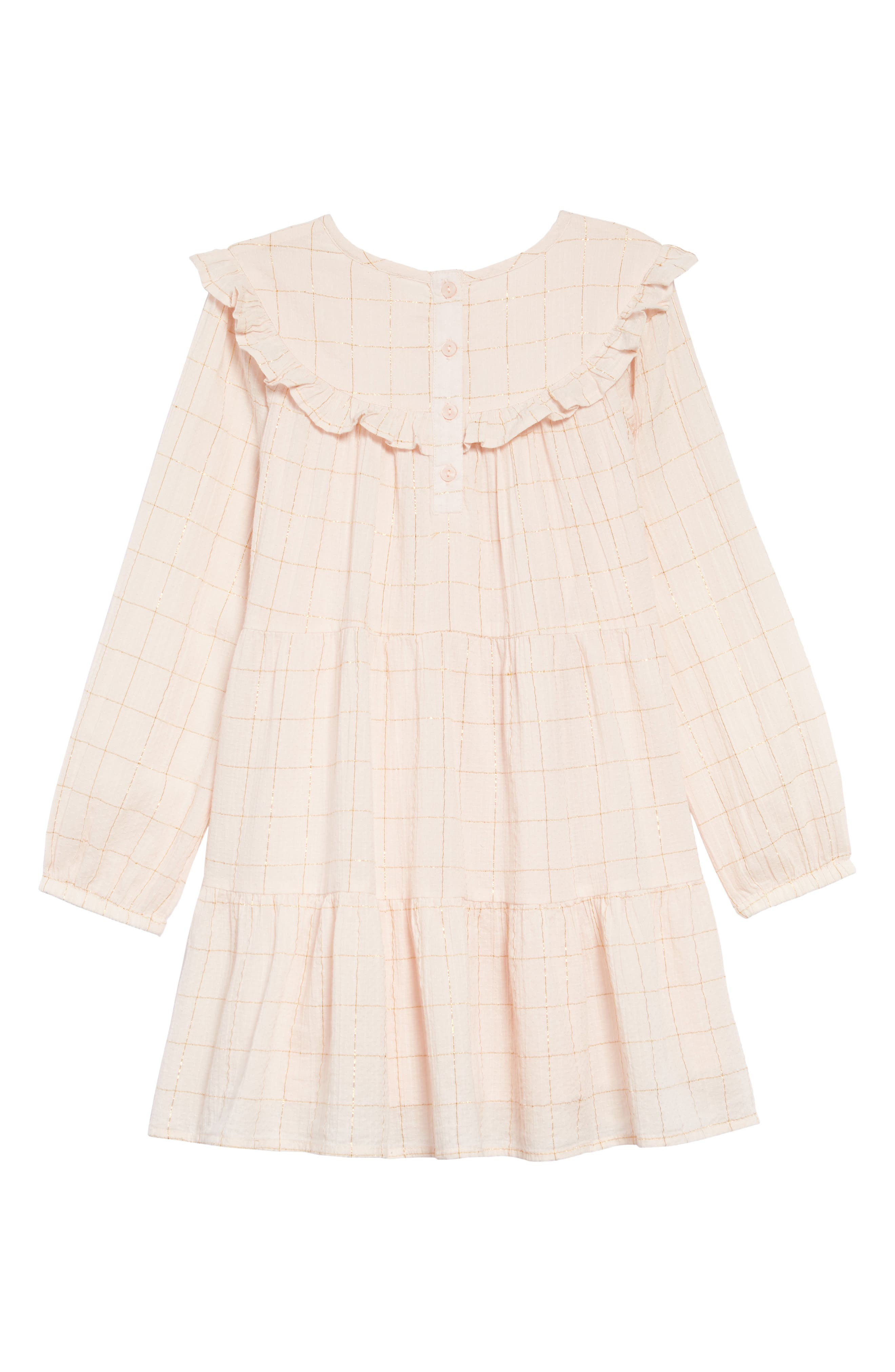 Tiered Dress,                             Alternate thumbnail 2, color,                             PINK WOOD- GOLD CHECK