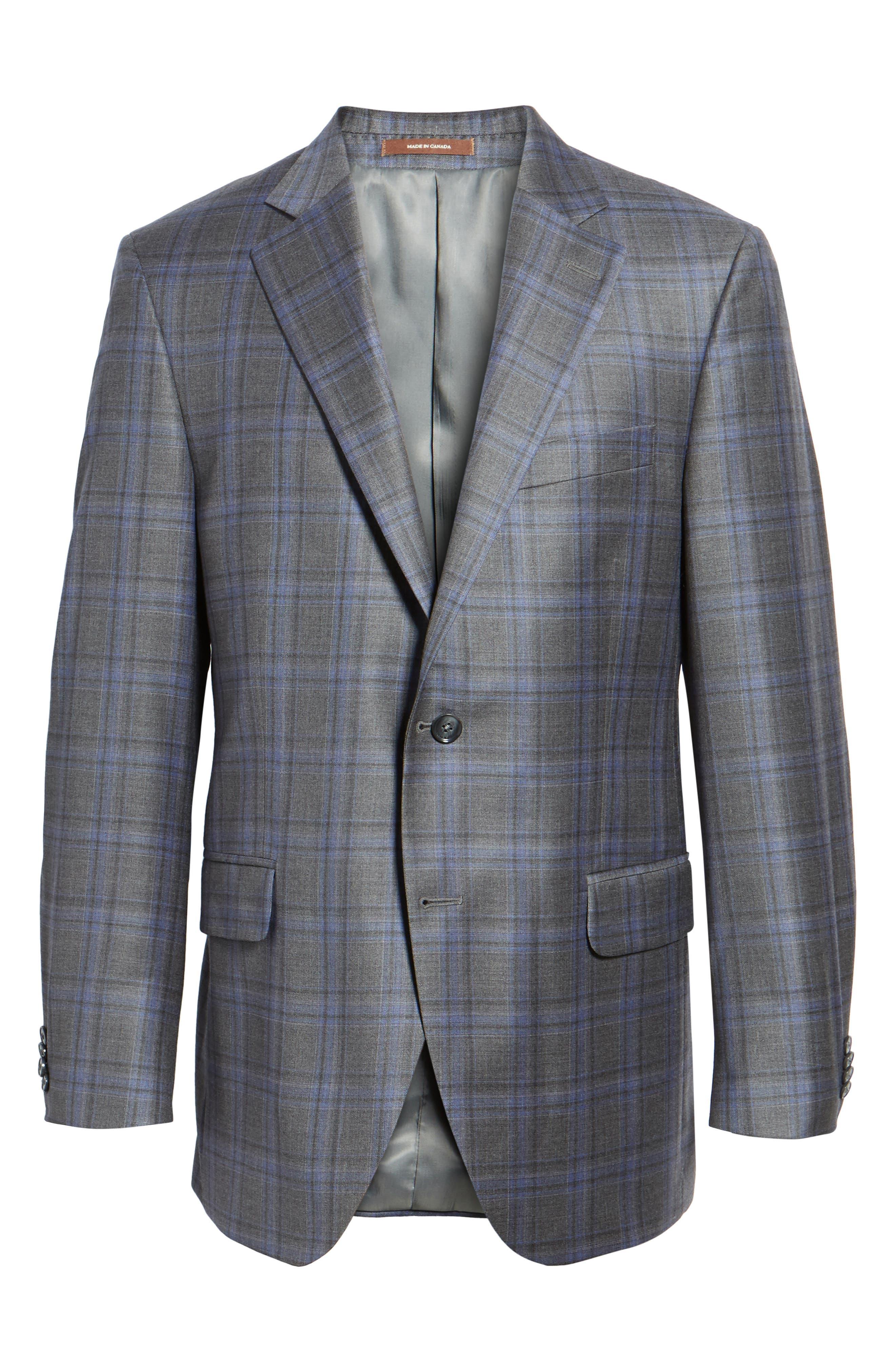 Classic Fit Plaid Wool Sport Coat,                             Alternate thumbnail 5, color,                             020