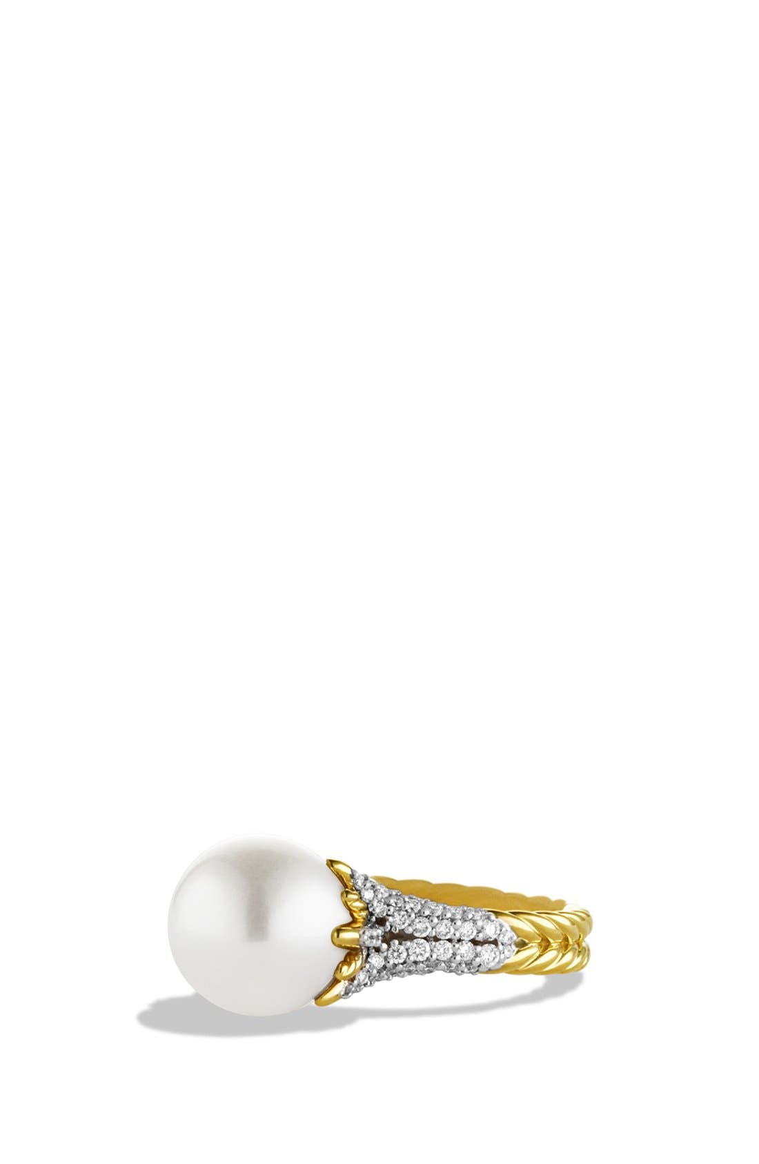 'Starburst' Pearl Ring with Diamonds in Gold,                         Main,                         color, PEARL
