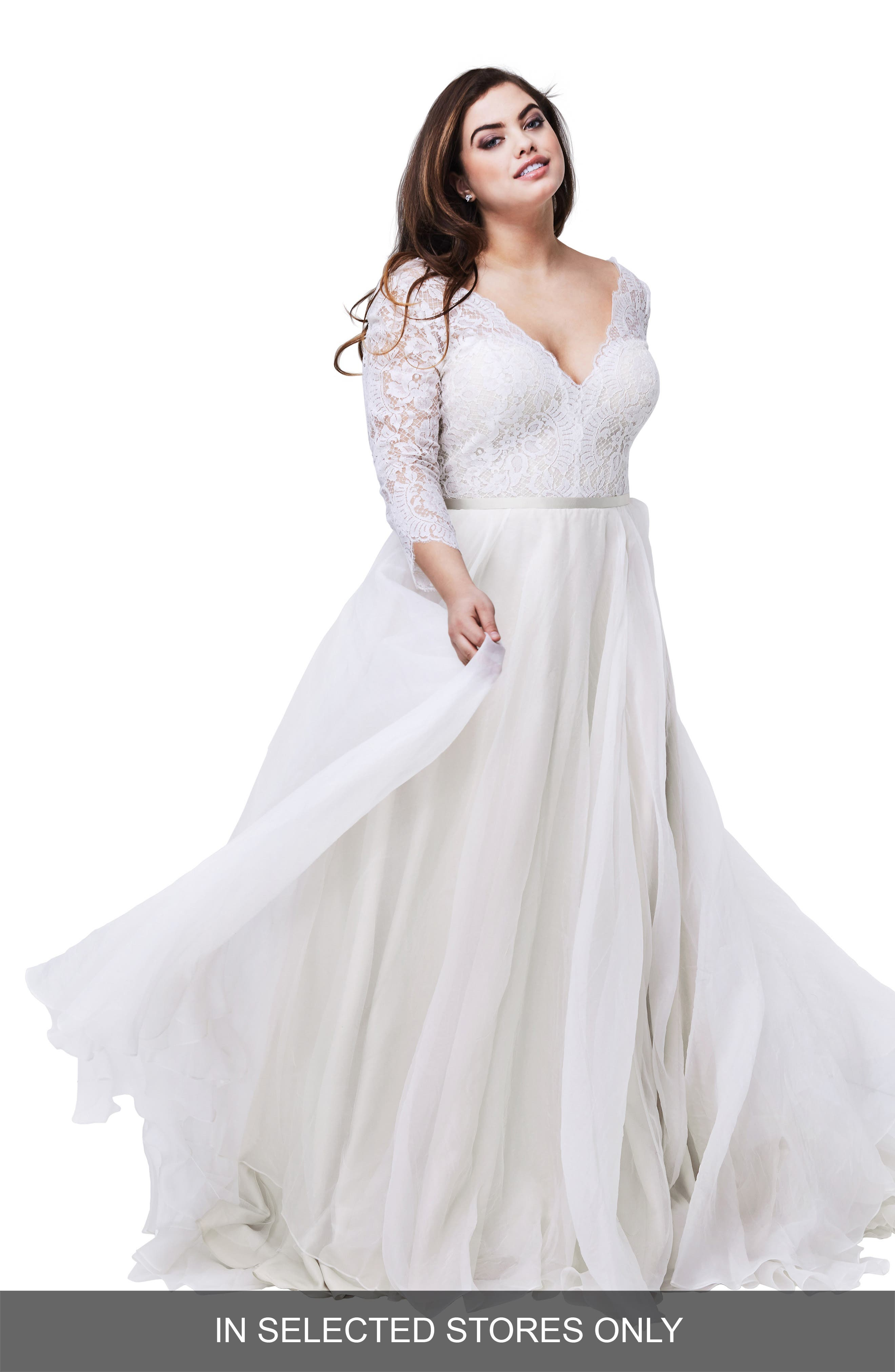 Shiloh Lace & Silk Organza A-Line Gown,                             Main thumbnail 1, color,                             IVORY