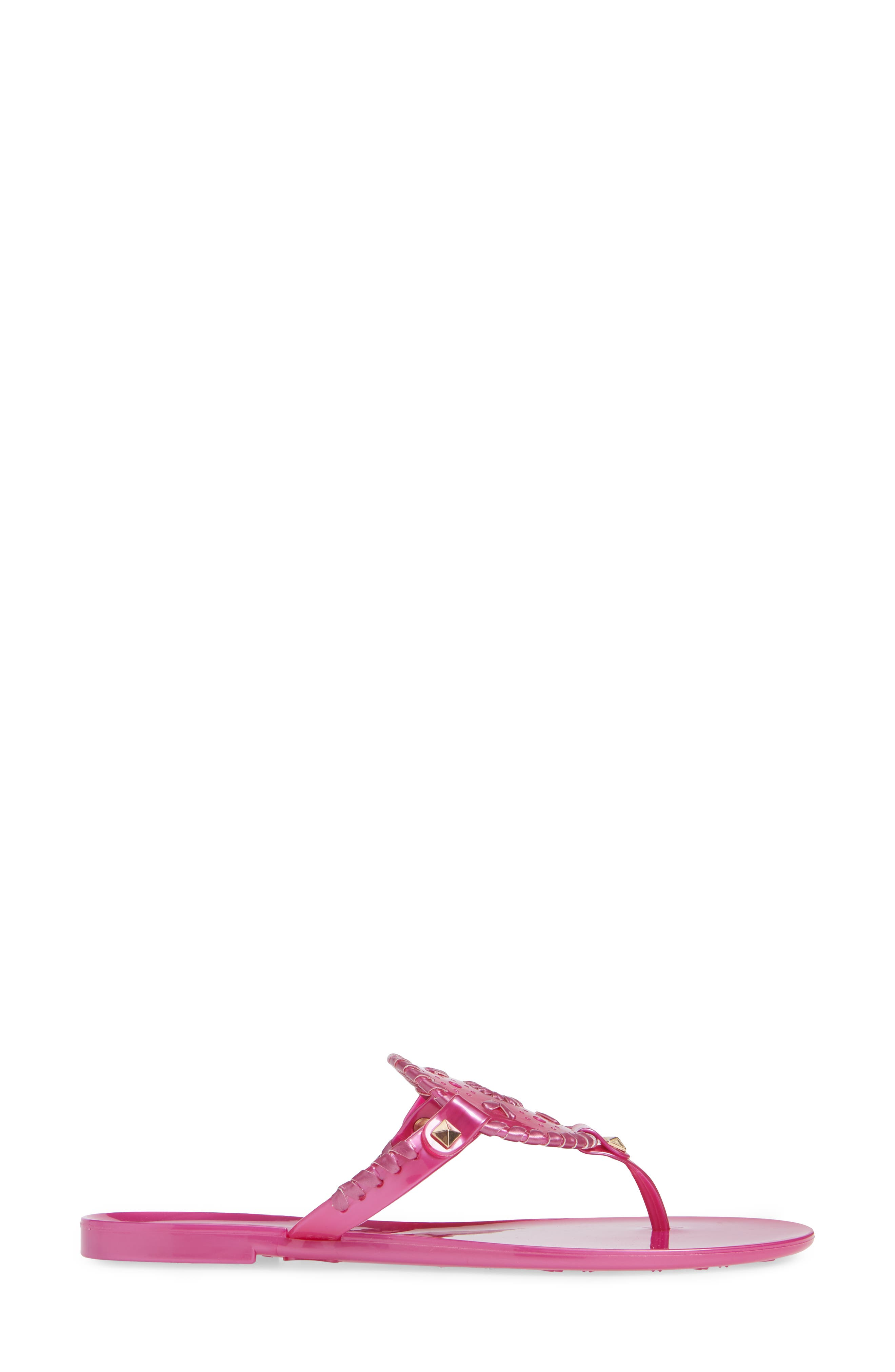 'Georgica' Jelly Flip Flop,                             Alternate thumbnail 3, color,                             BRIGHT PINK