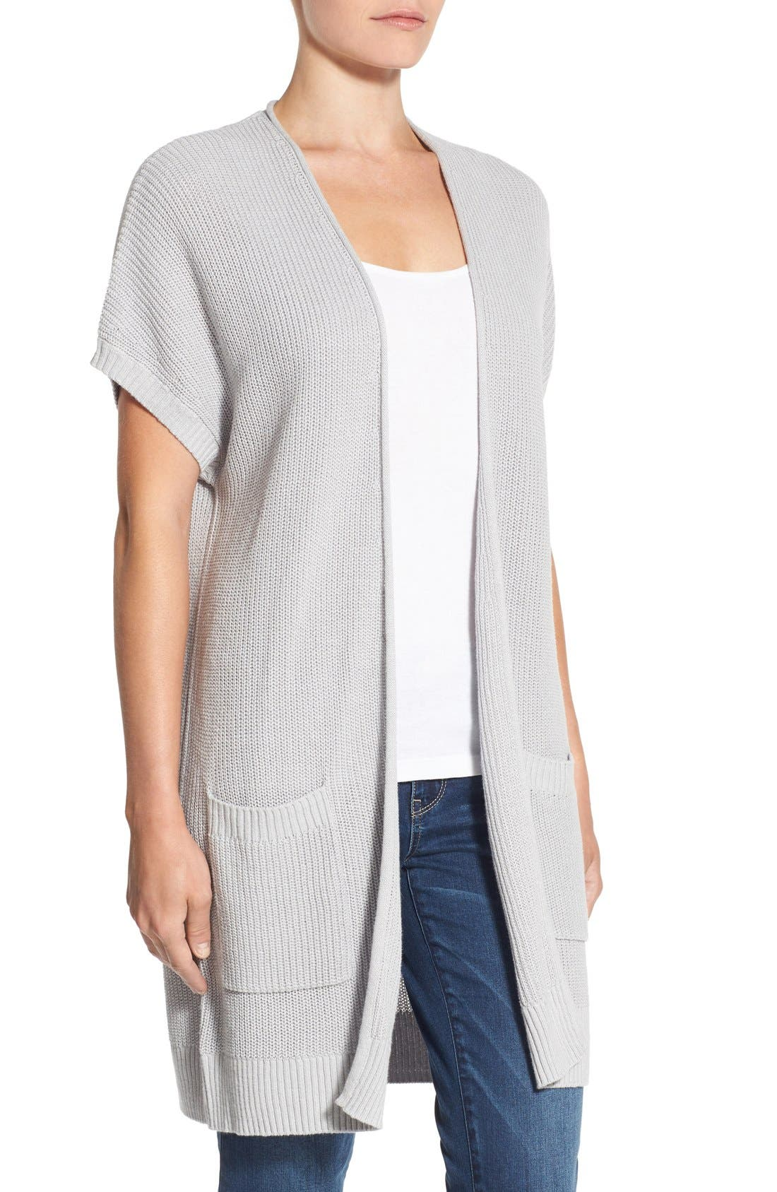 Shaker Stitch Open Front Cardigan,                             Alternate thumbnail 18, color,