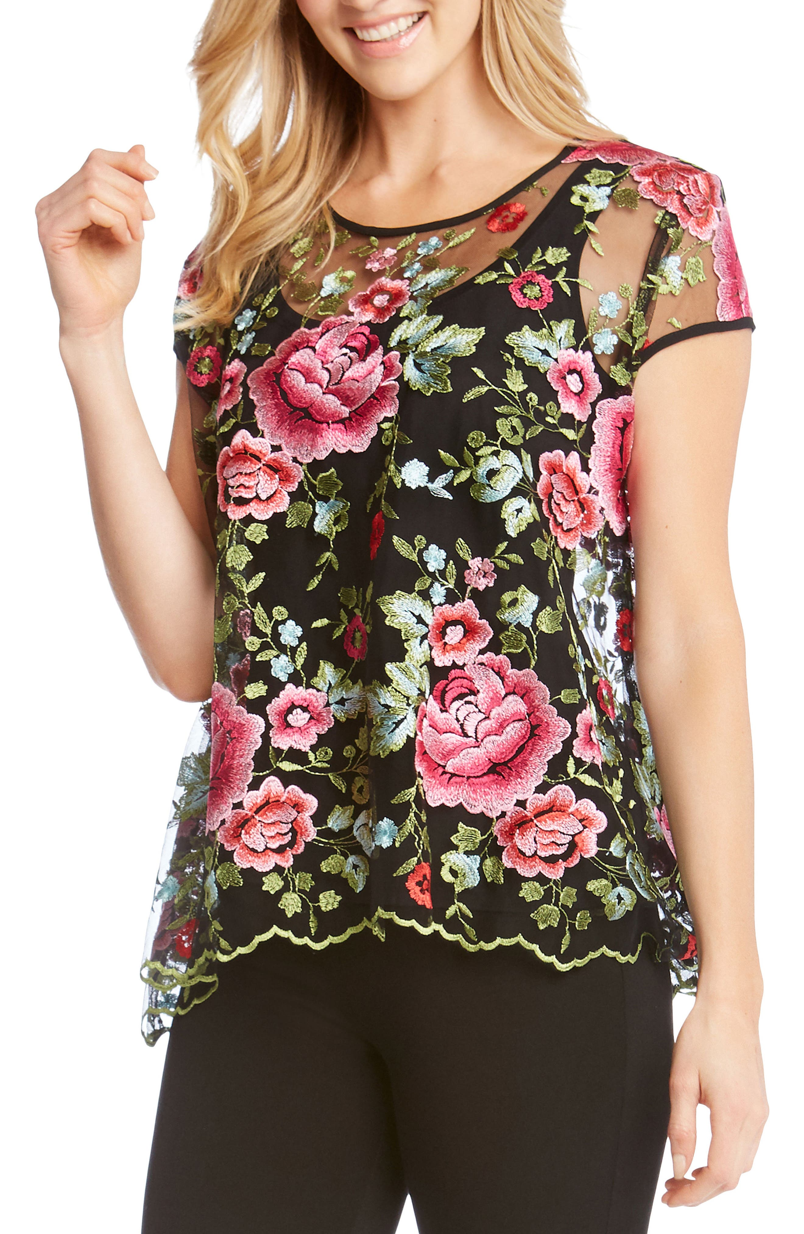 Embroidered Flare Top,                         Main,                         color, 008