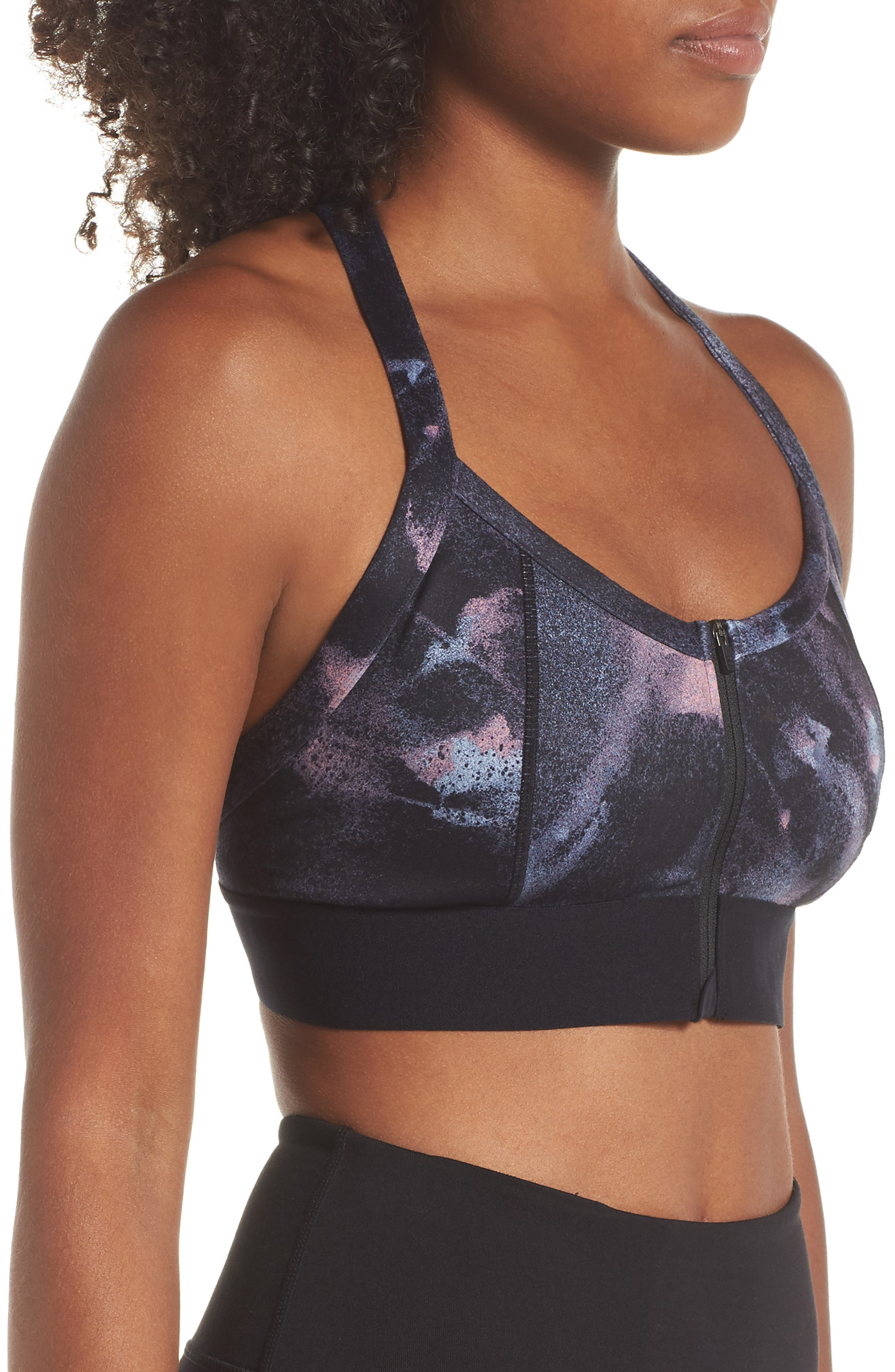 Upbeat Padded Workout Bra,                             Alternate thumbnail 3, color,                             001
