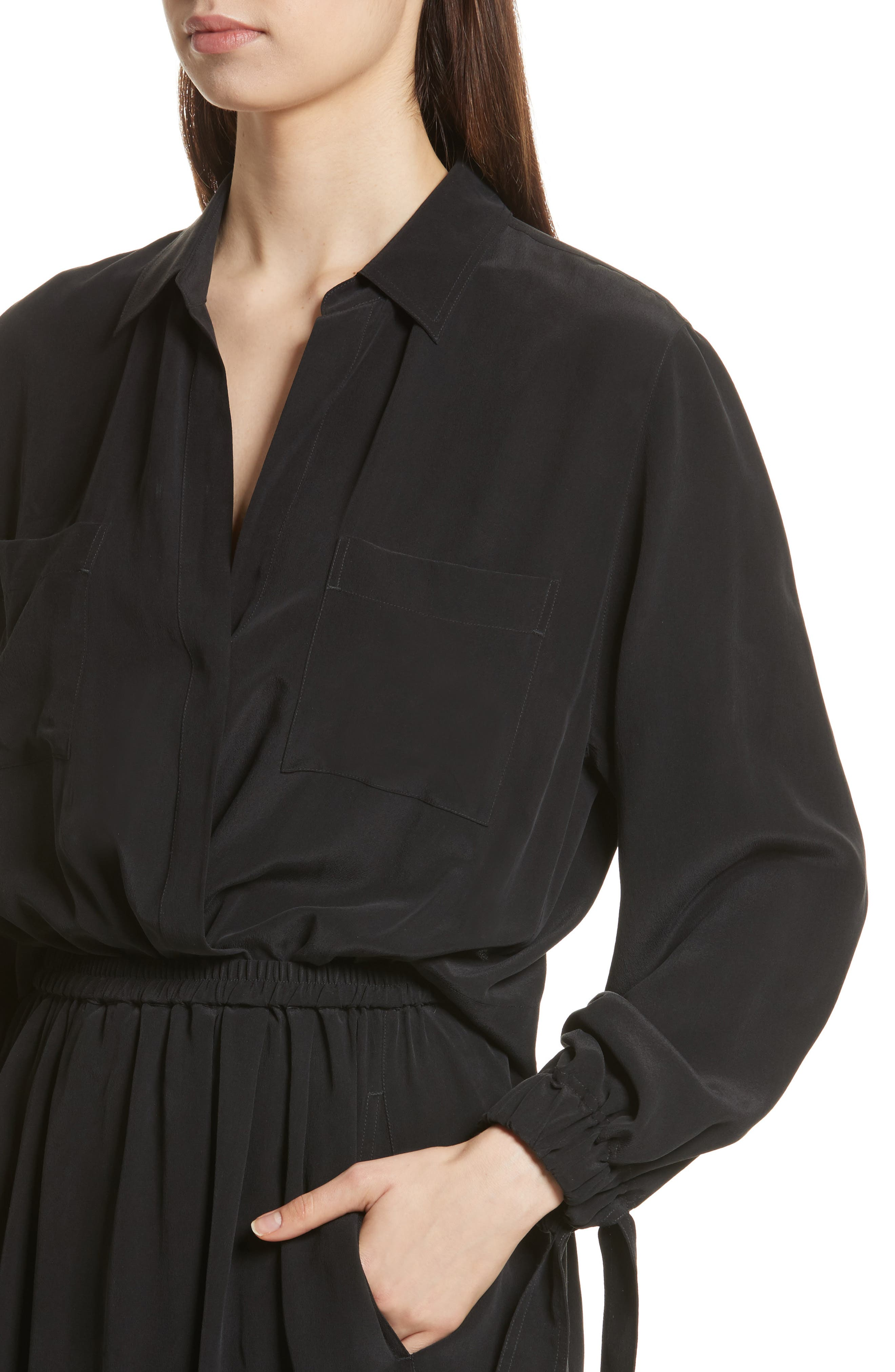 Silk Slit Back Shirtdress,                             Alternate thumbnail 4, color,                             001