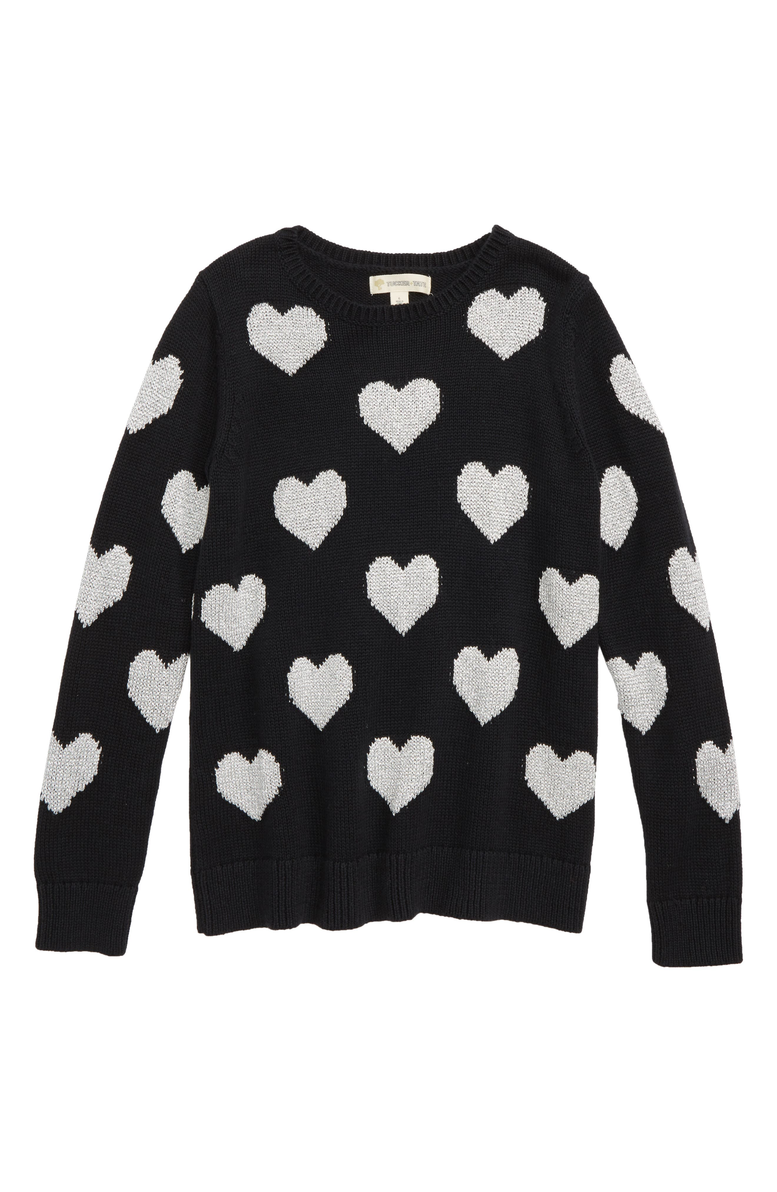 Metallic Heart Sweater,                             Main thumbnail 1, color,                             BLACK SPARKLE HEARTS
