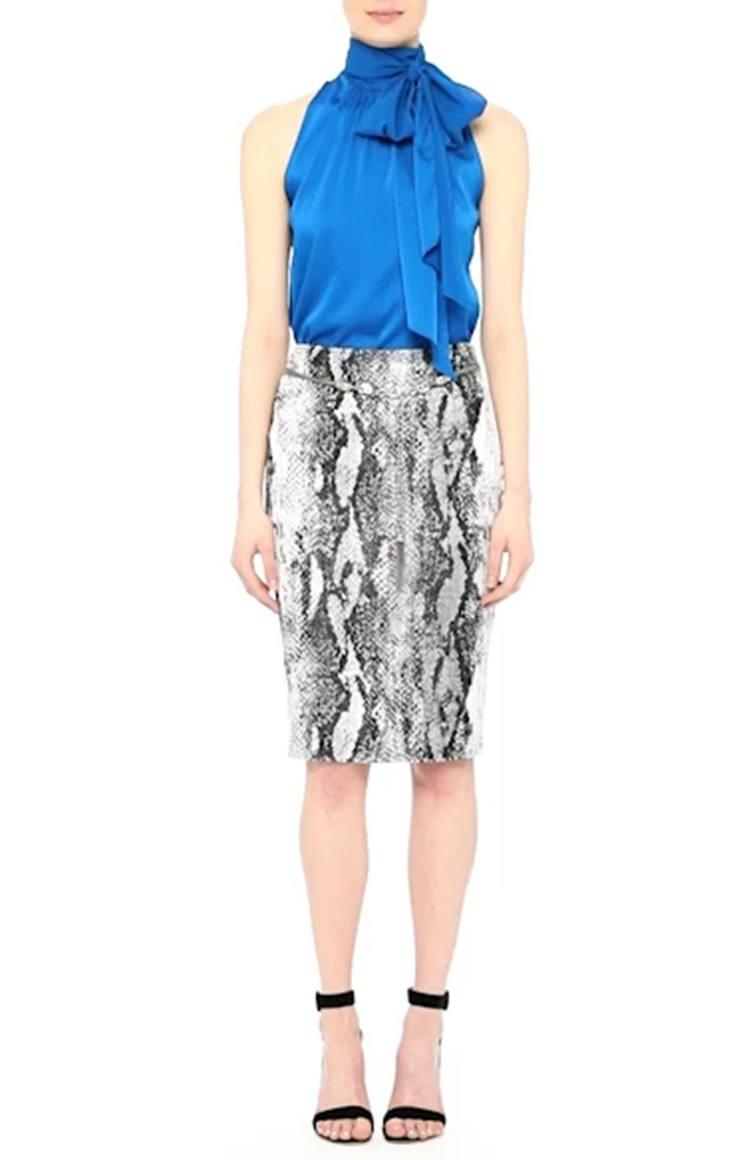 Raja Snakeskin Knit Pencil Skirt,                             Alternate thumbnail 7, color,                             050