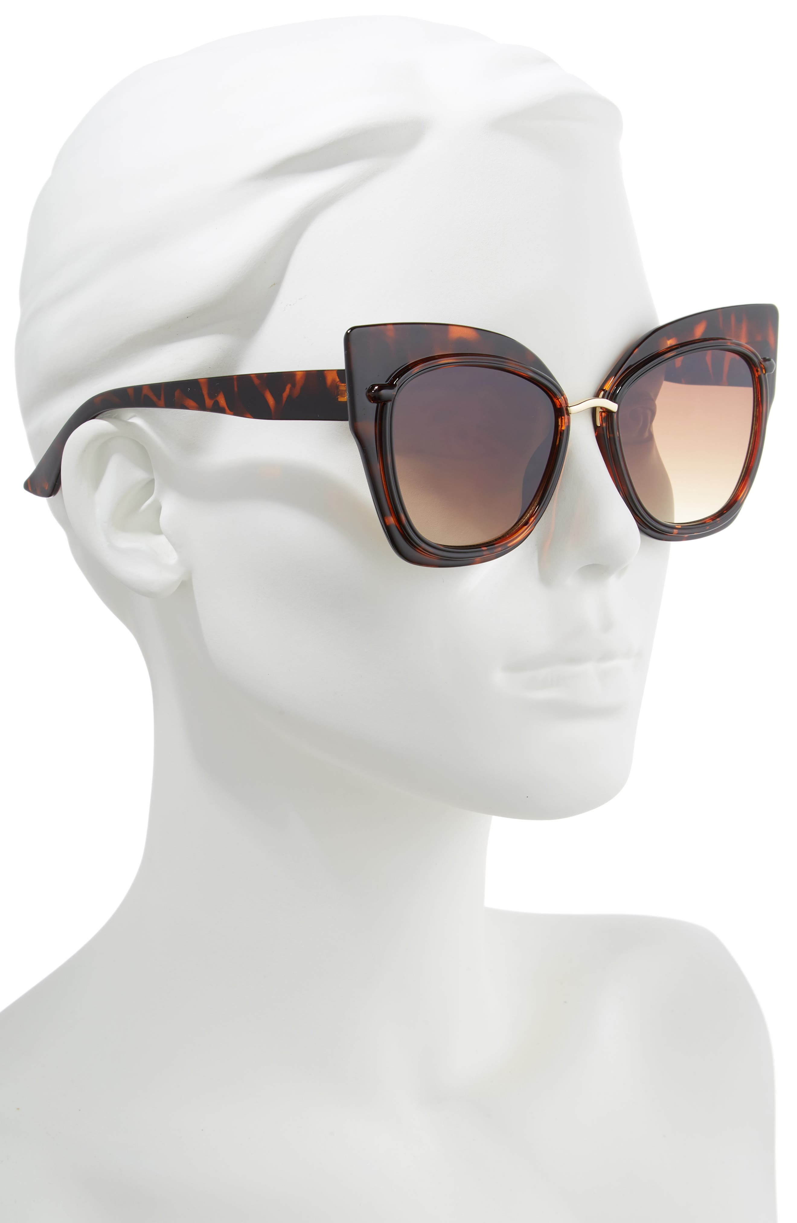 55mm Dual Oversized Cat Eye Sunglasses,                             Alternate thumbnail 2, color,                             200