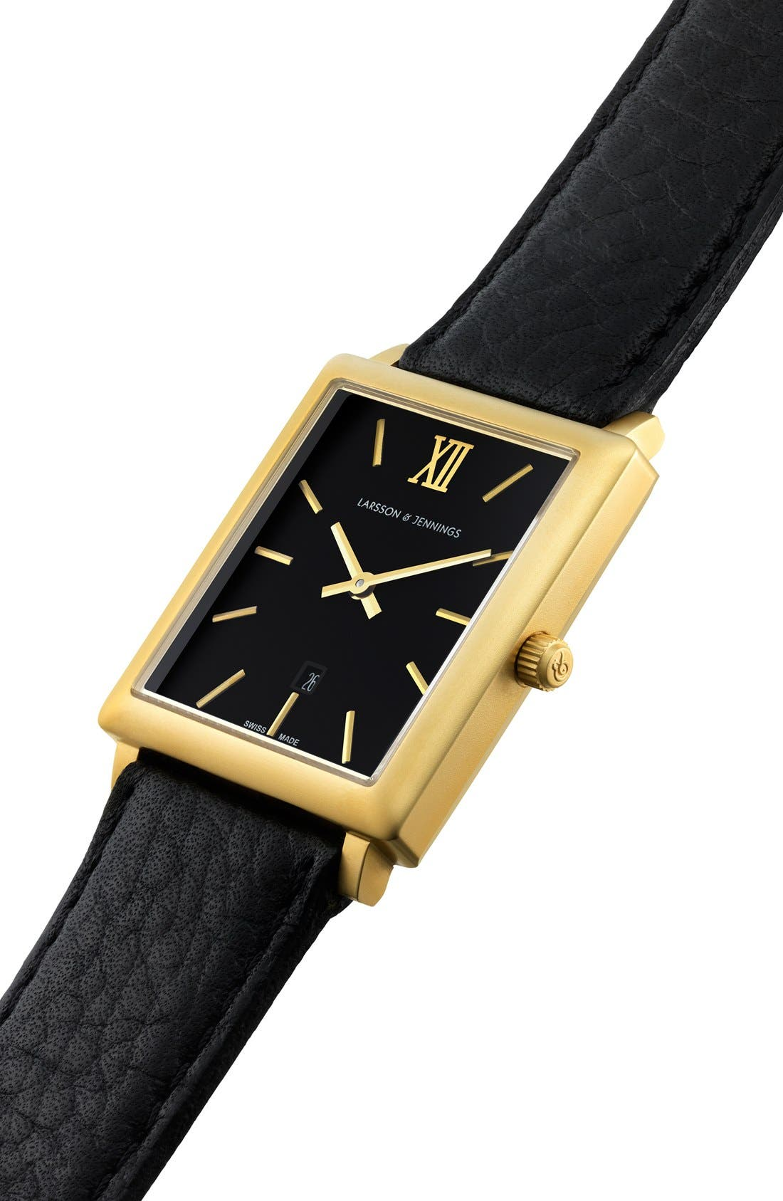 'Norse' Rectangular Leather Strap Watch, 29mm x 40mm,                             Alternate thumbnail 5, color,                             001