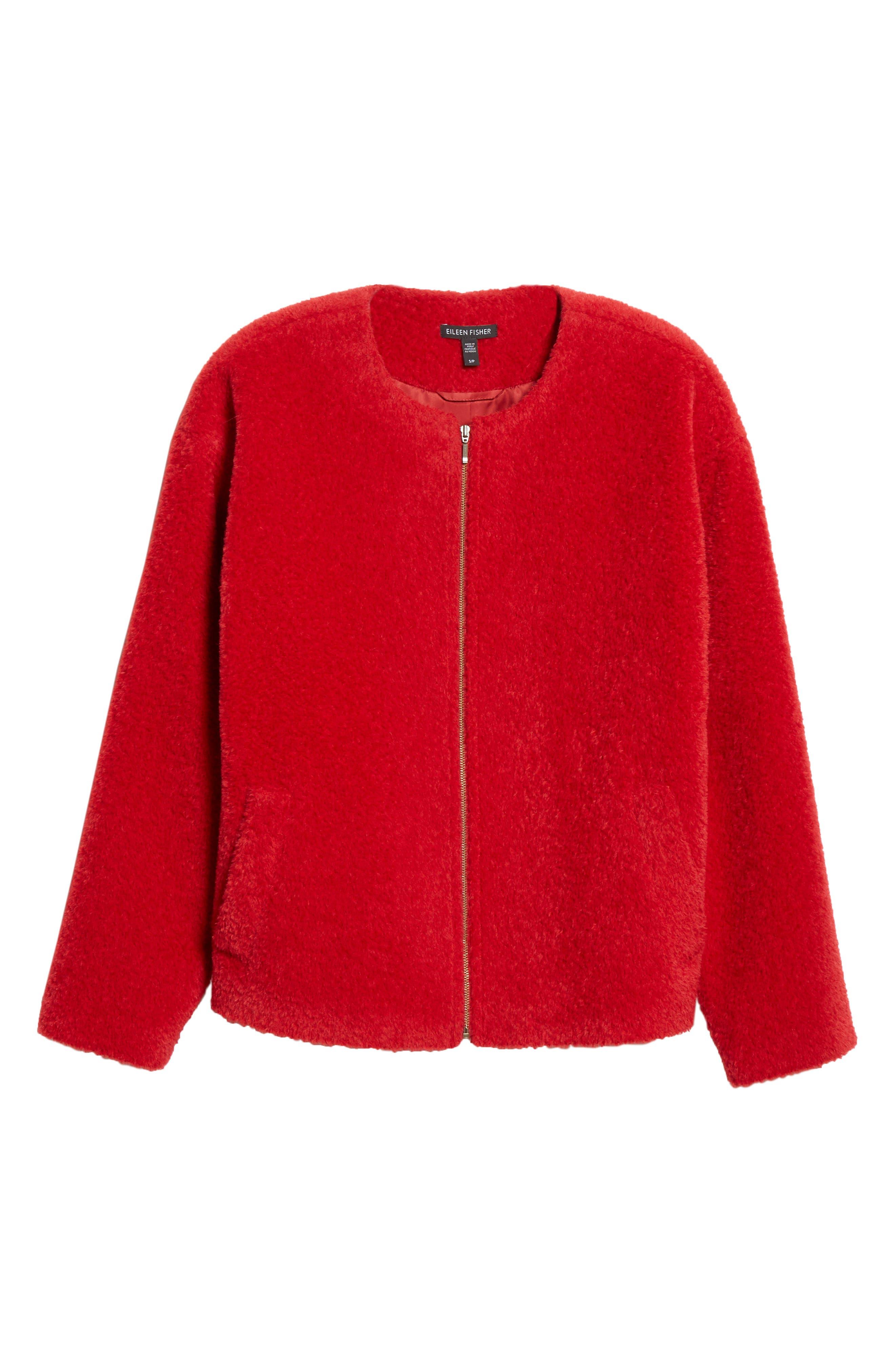 Wool & Alpaca Blend Jacket,                             Alternate thumbnail 6, color,                             LACQUER