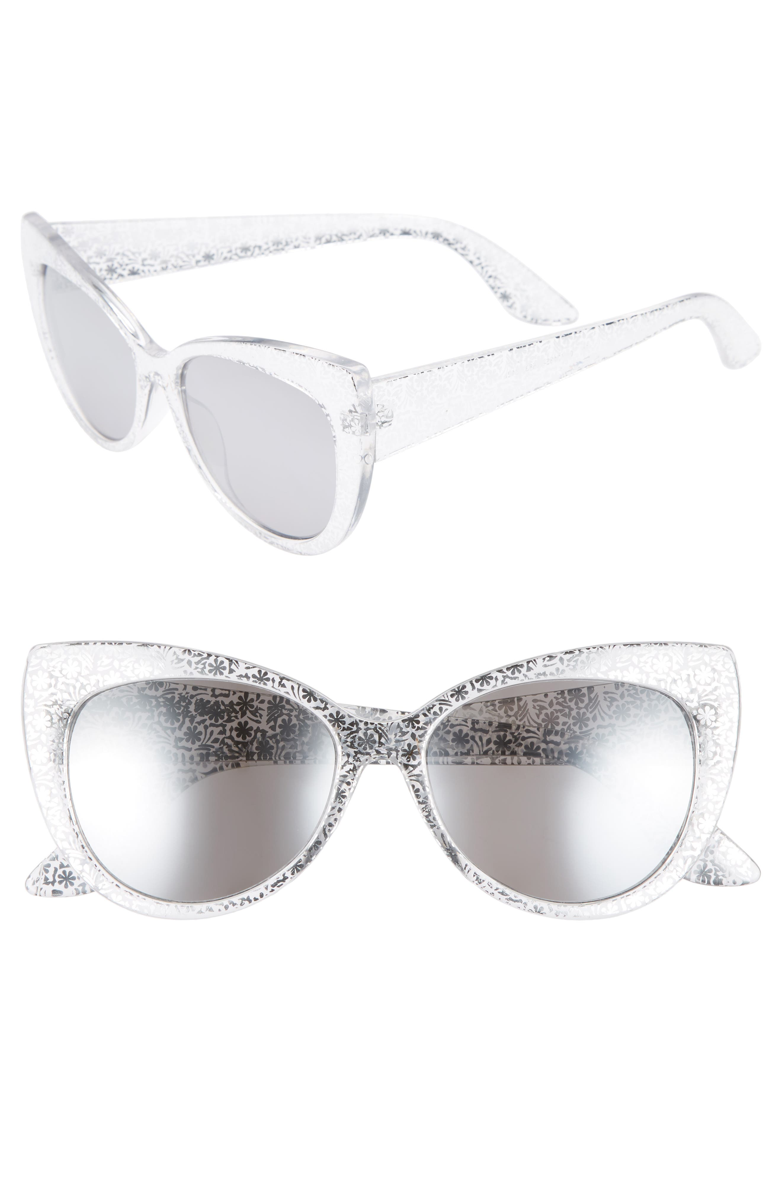 55mm Floral Cat Eye Sunglasses,                             Main thumbnail 1, color,