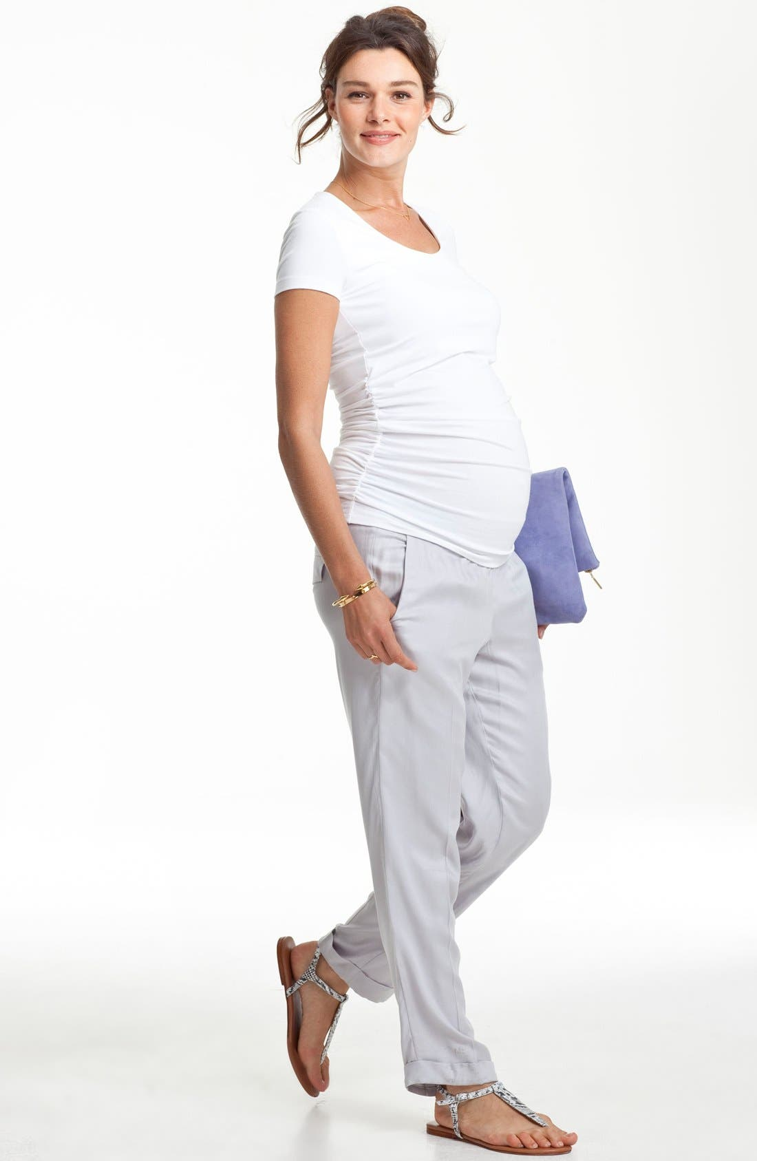 Scoop Neck Maternity Tee,                             Alternate thumbnail 4, color,                             PURE WHITE