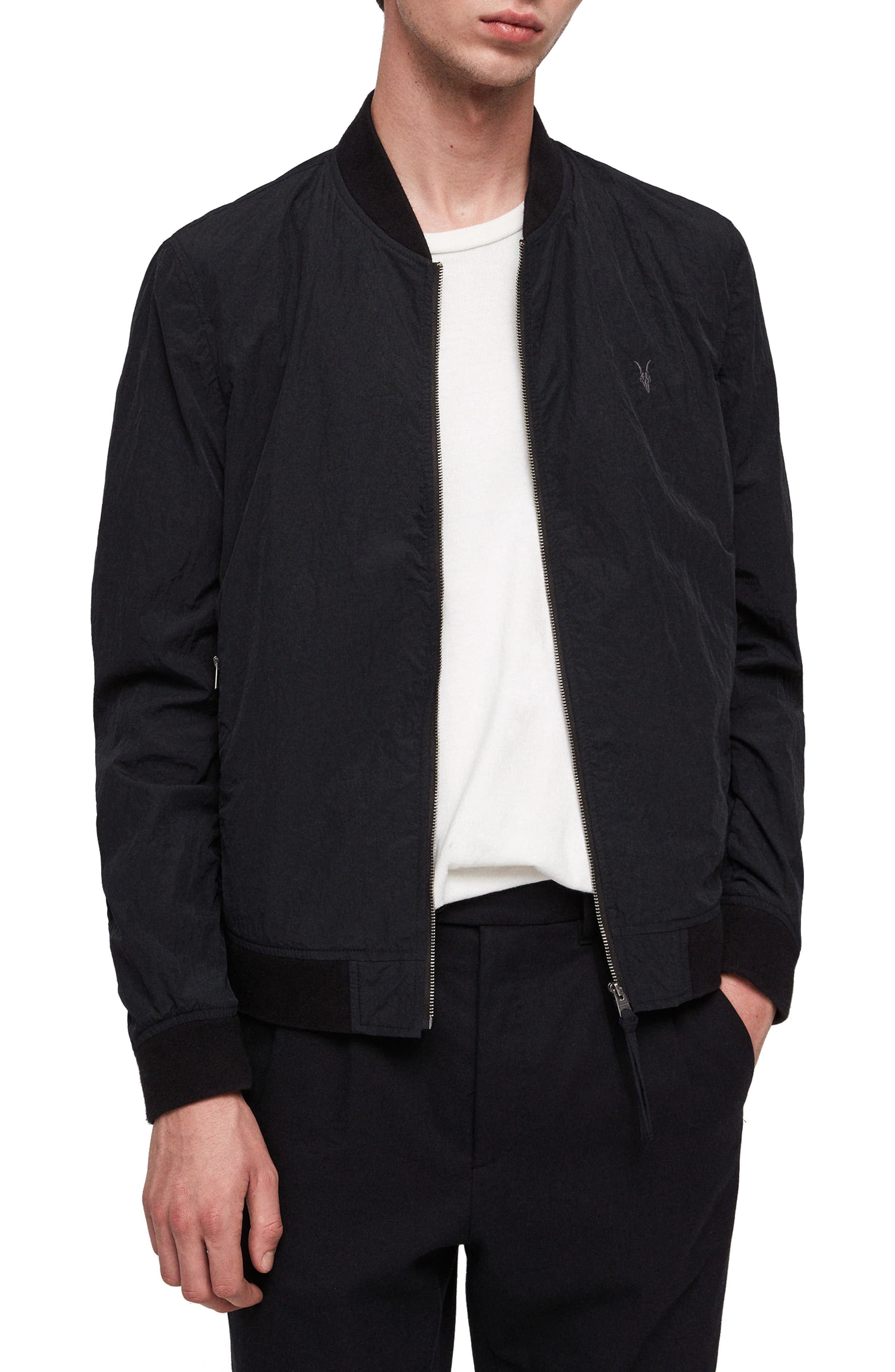 Fleet Lightweight Nylon Bomber Jacket,                         Main,                         color, BLACK