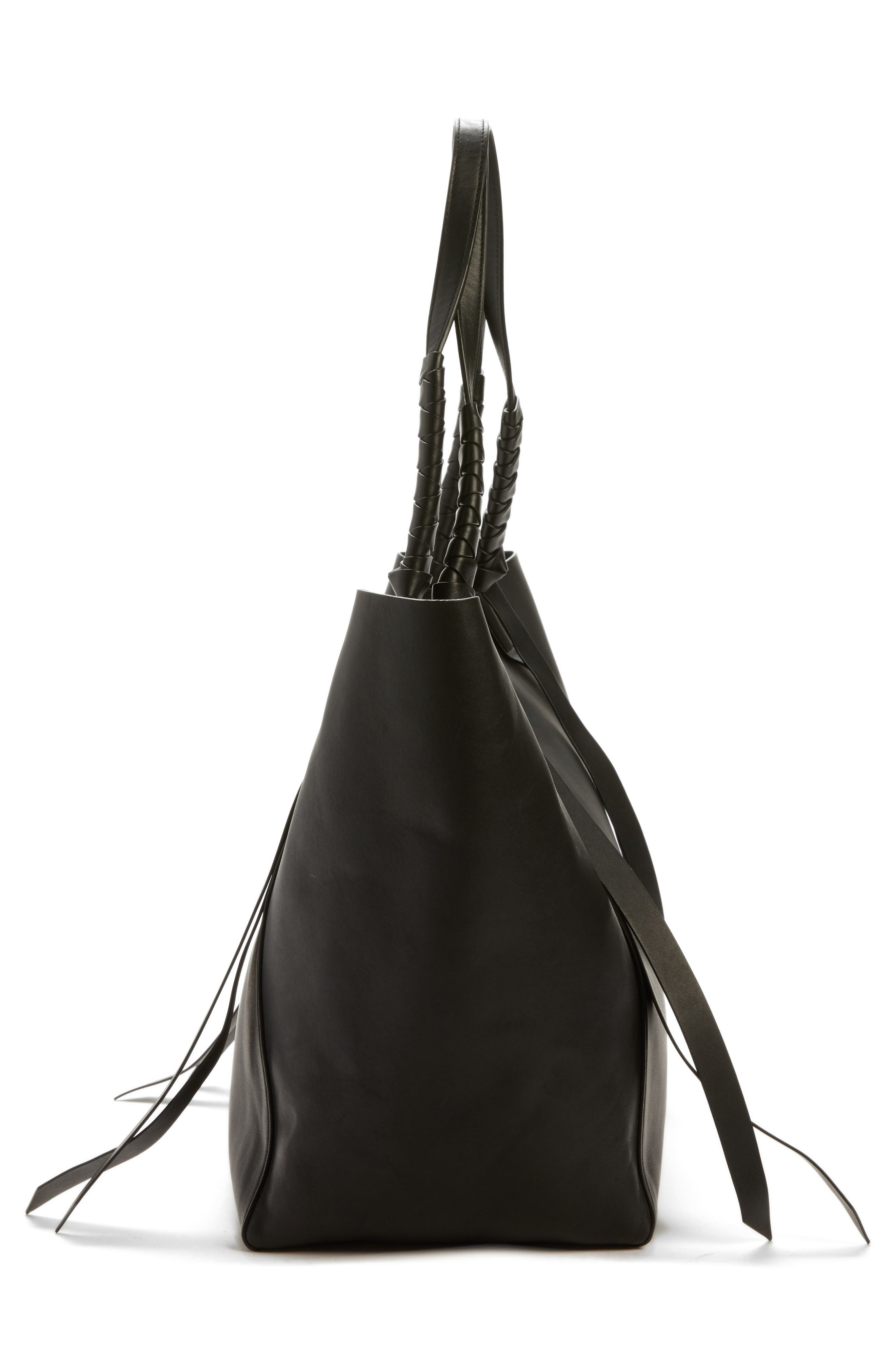 Voltaire Leather Tote,                             Alternate thumbnail 5, color,                             BLACK