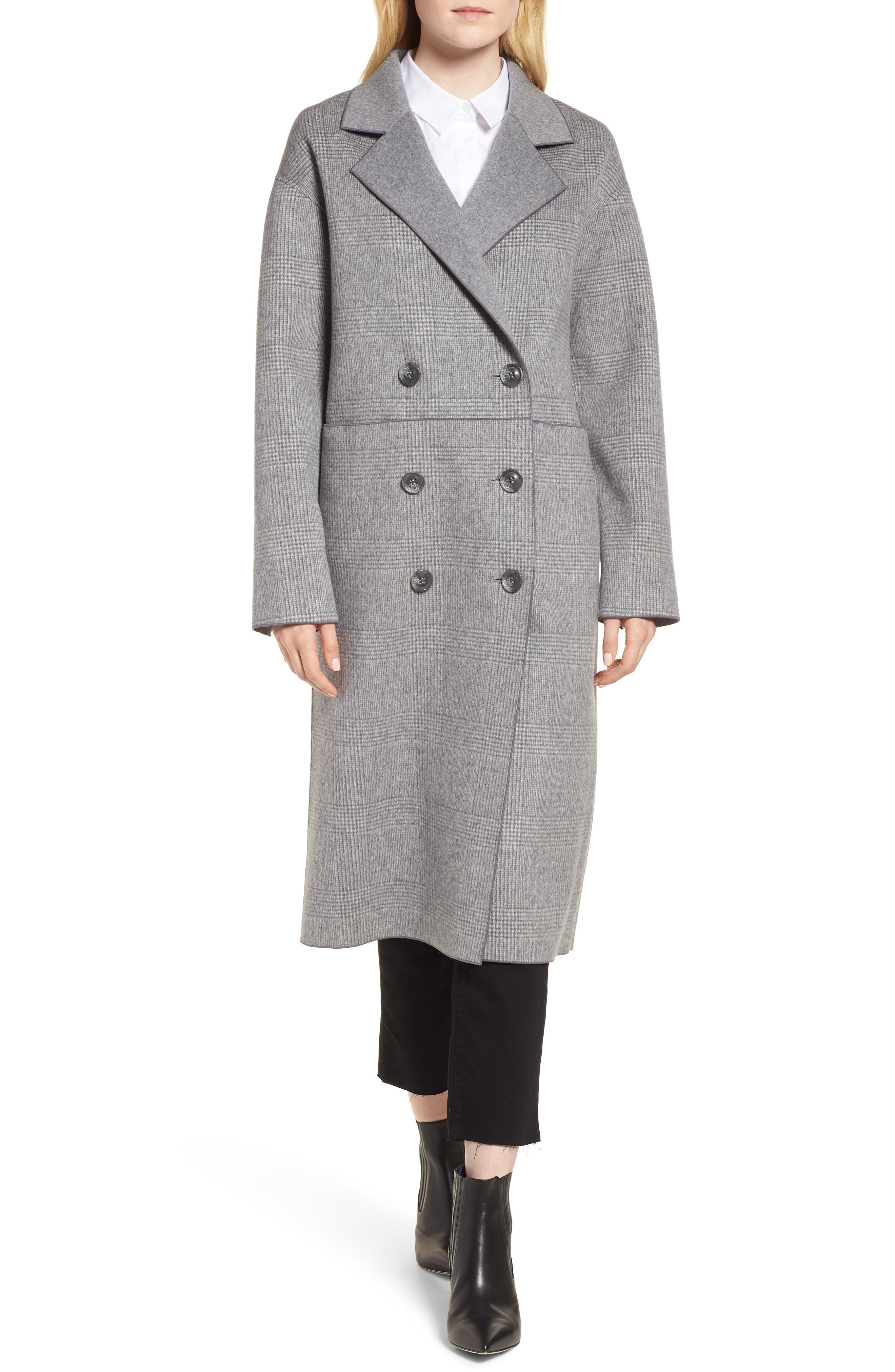Amy Double Breasted Wool Coat,                         Main,                         color, GREY PLAID