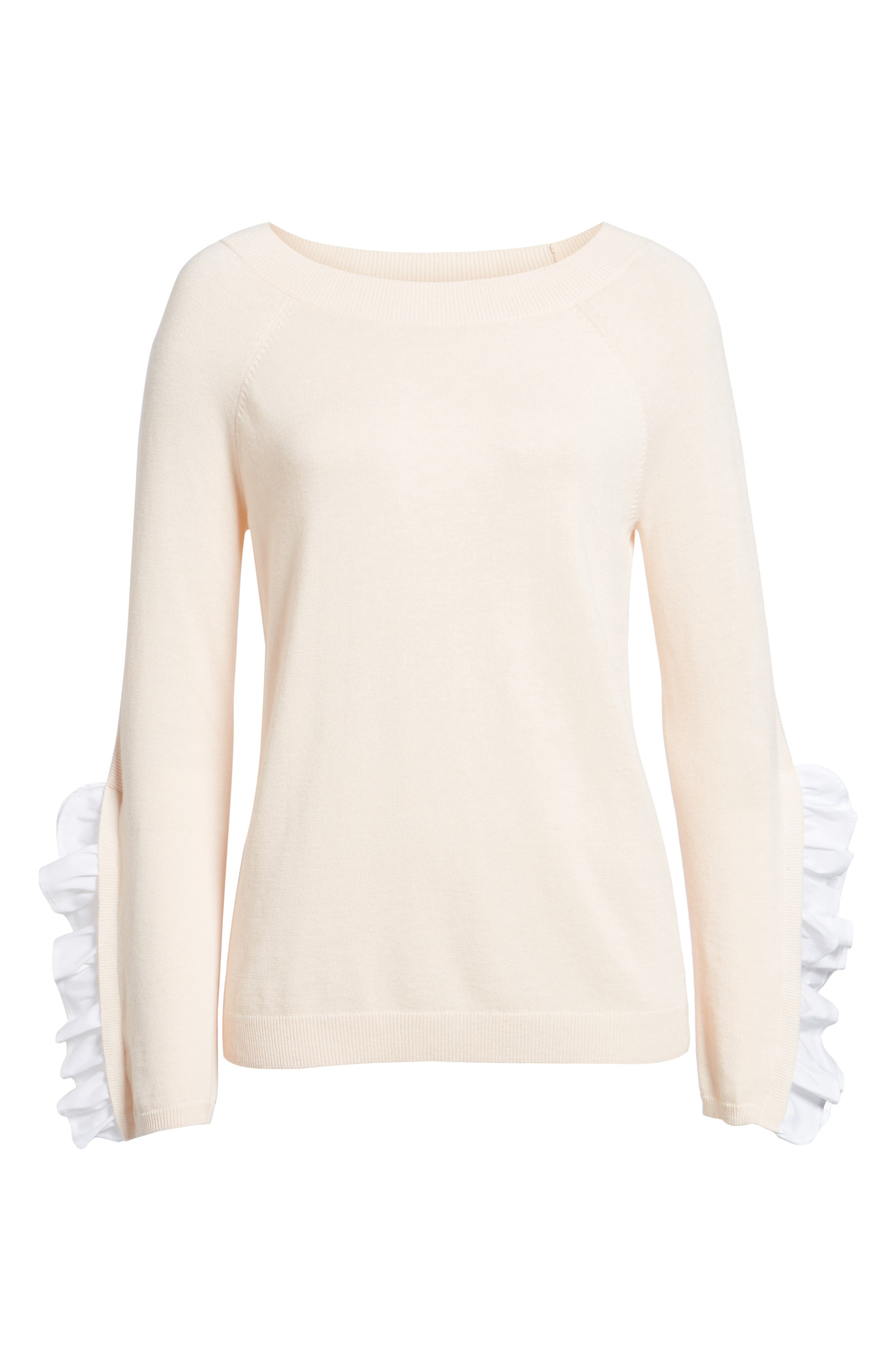 Ruffle Sleeve Sweater,                             Alternate thumbnail 24, color,