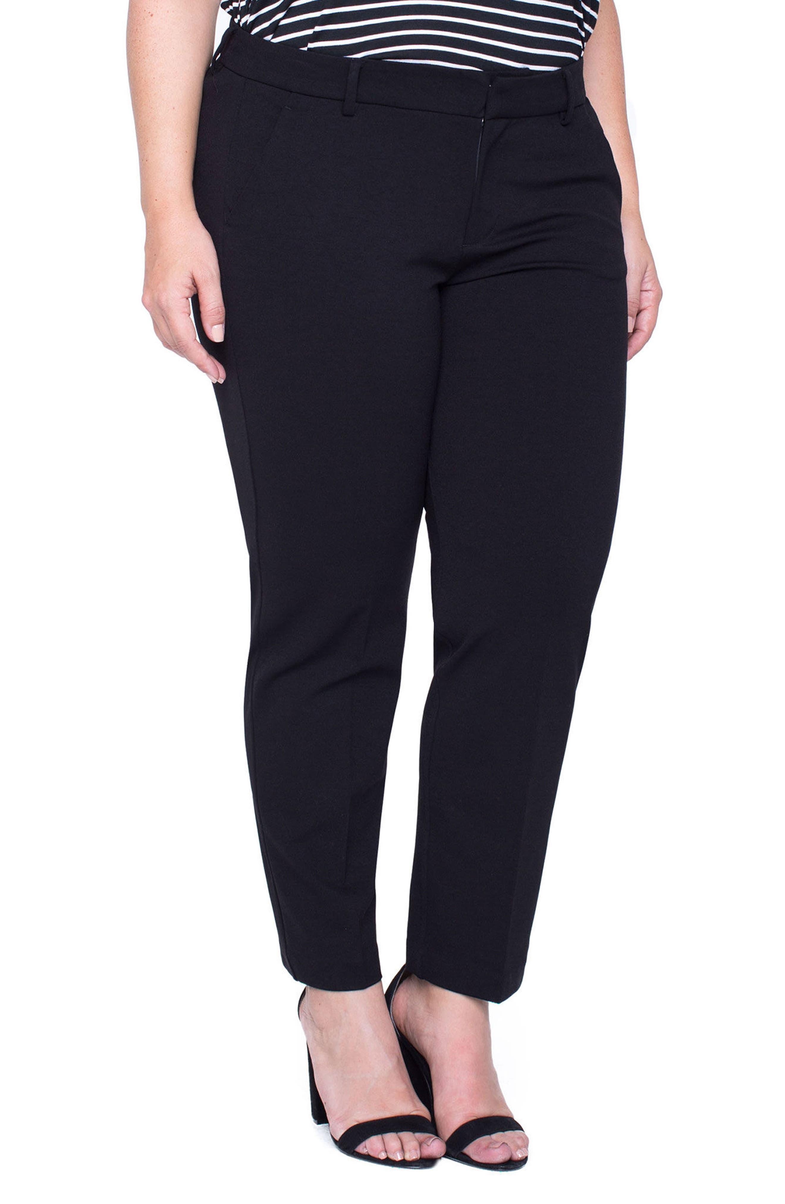 LIVERPOOL,                             Kelsey Ponte Knit Trousers,                             Alternate thumbnail 5, color,                             BLACK