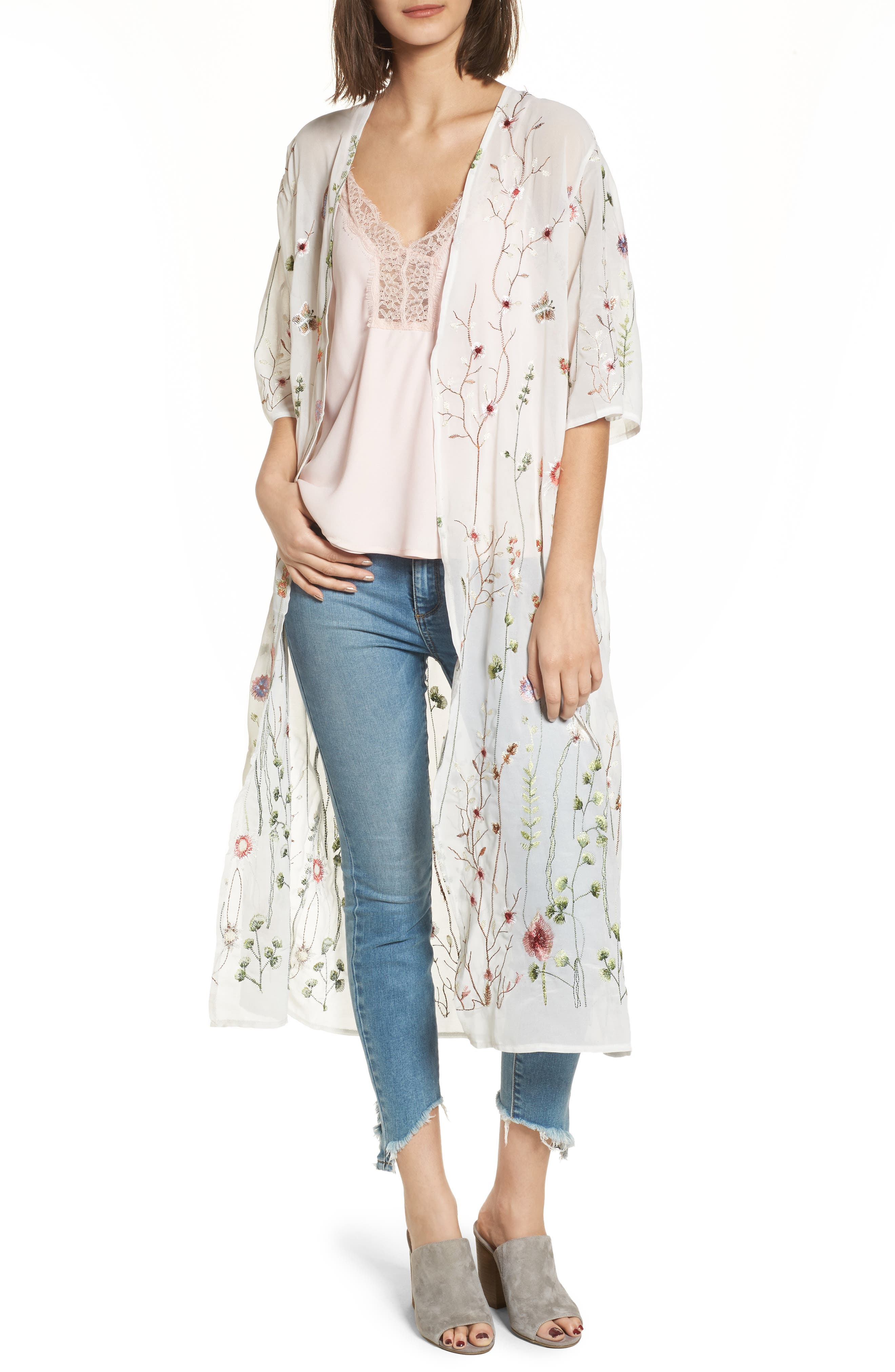 Embroidered Kimono,                         Main,                         color, 900