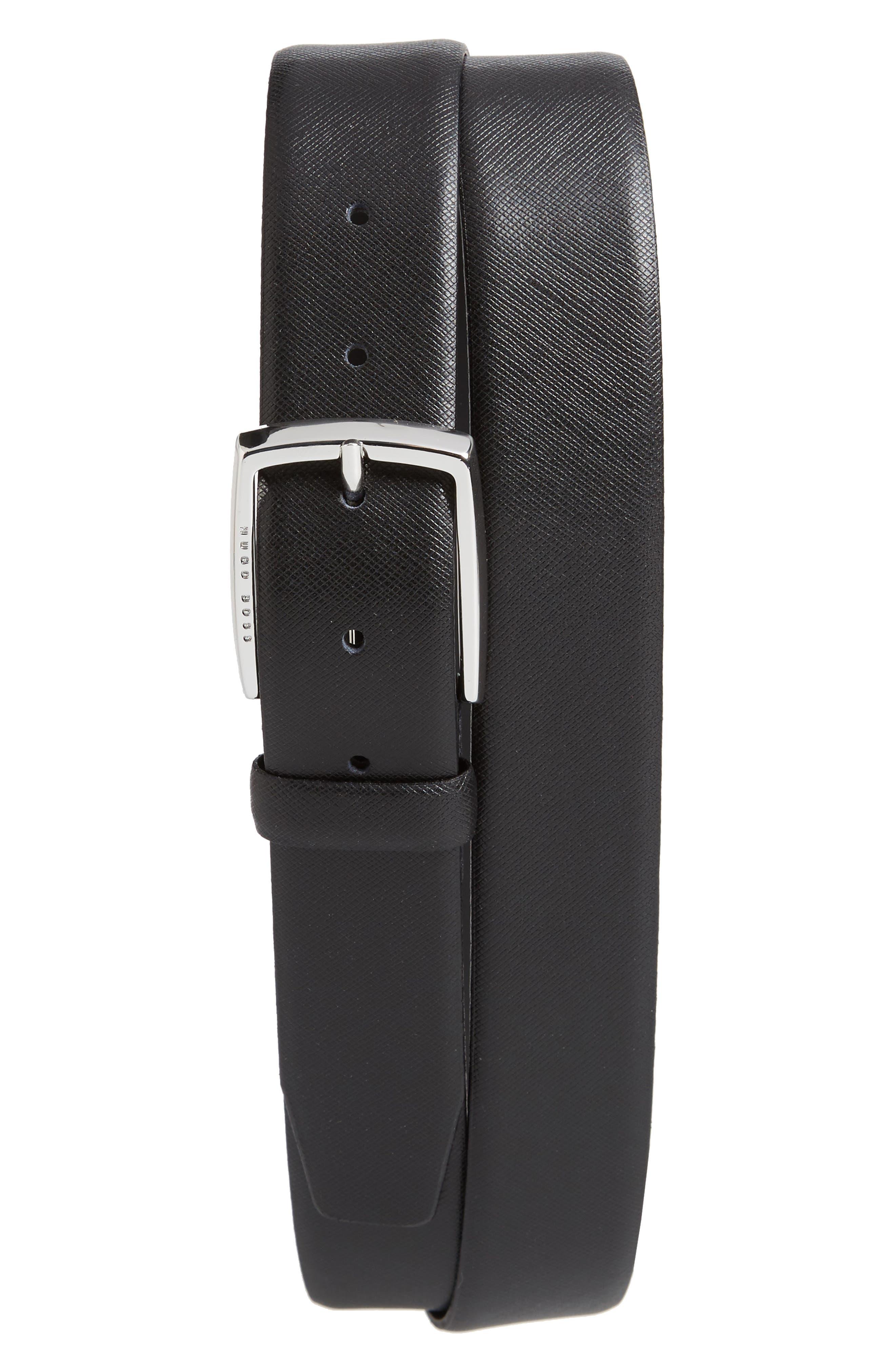 Celie Saffiano Leather Belt,                             Main thumbnail 1, color,                             BLACK