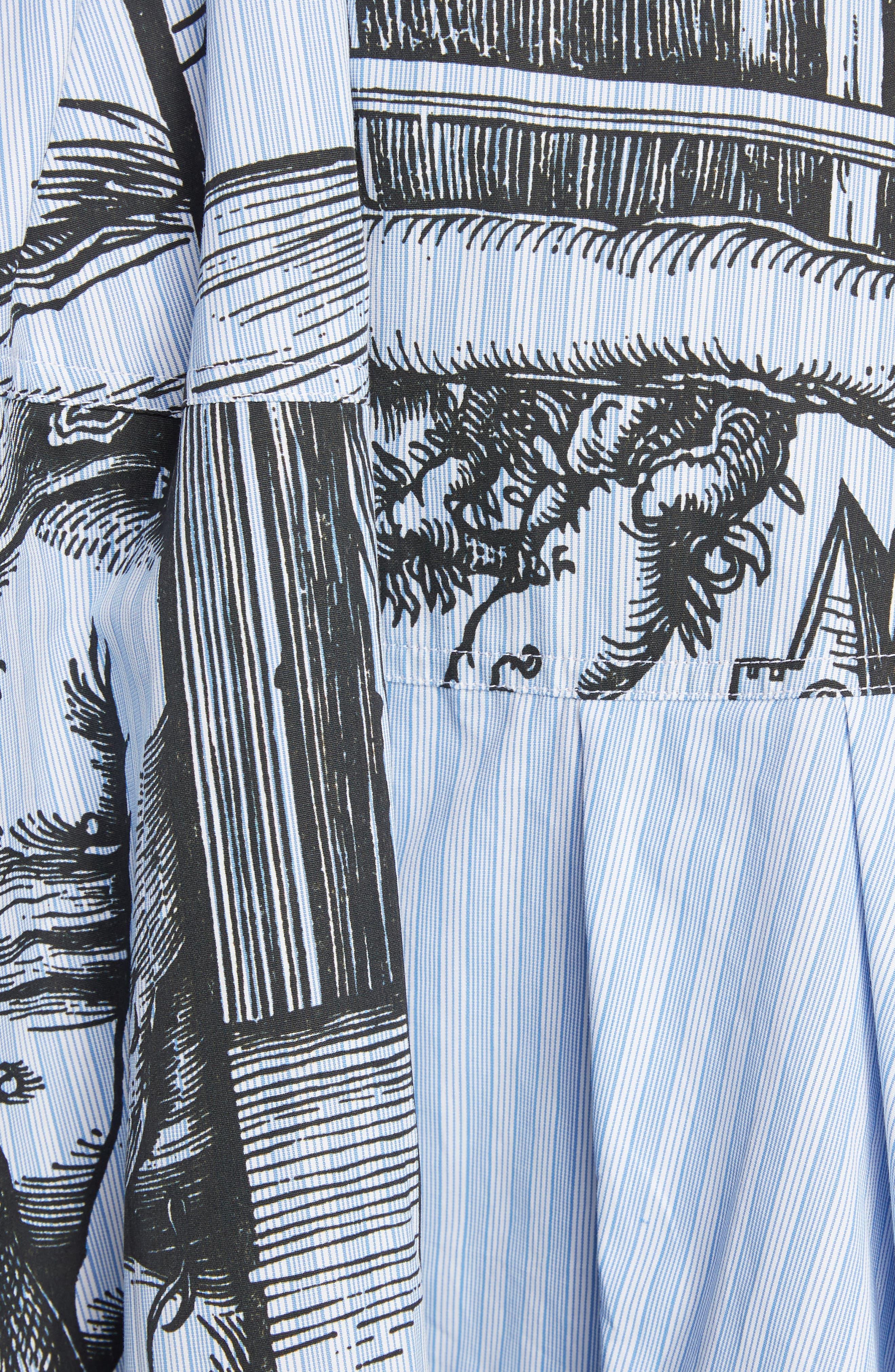 JW ANDERSON,                             Dürer Scene Print Stripe Skirt,                             Alternate thumbnail 5, color,                             CHINA BLUE