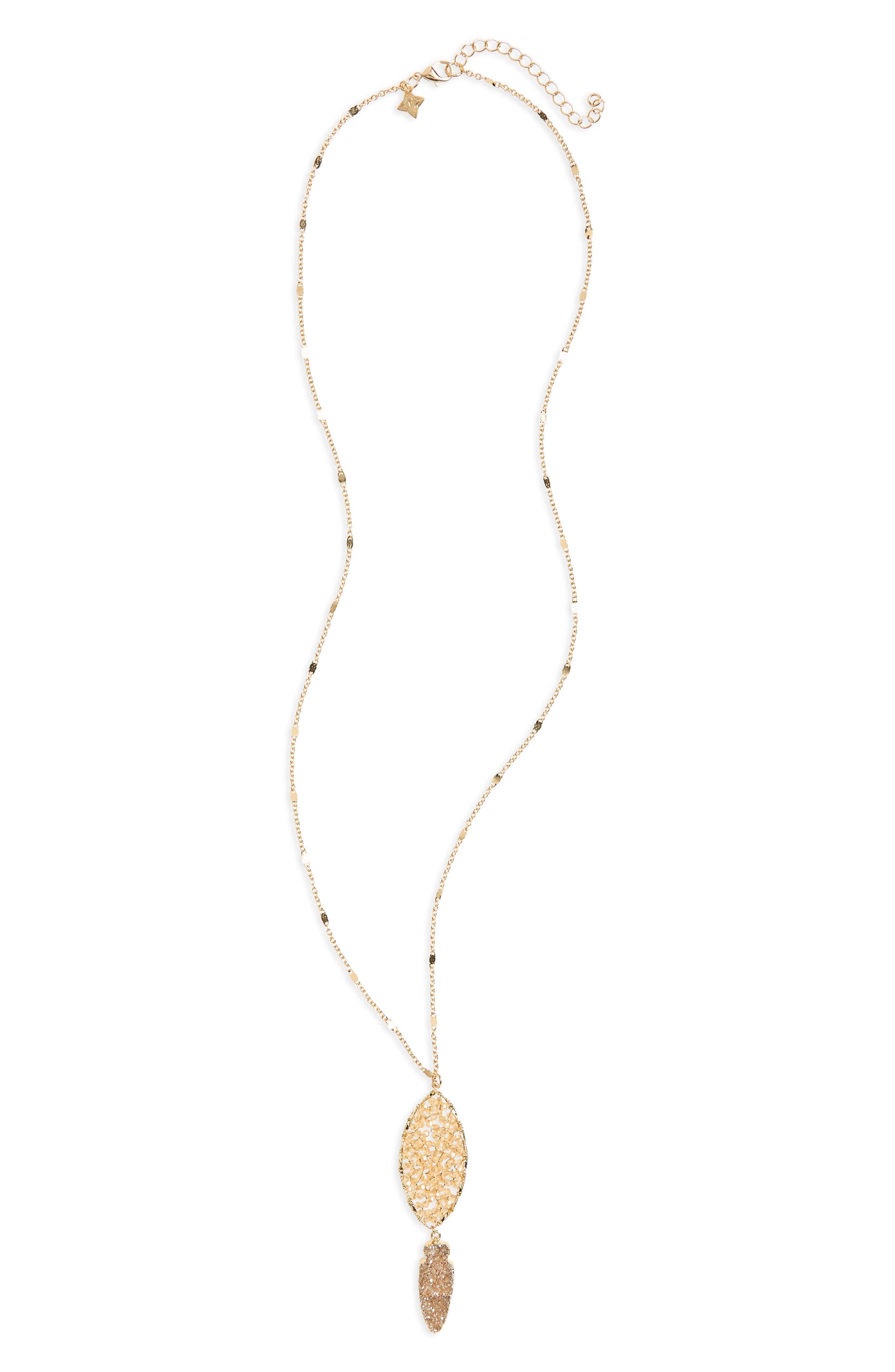 Drusy Arrow Pendant Necklace,                         Main,                         color, 710