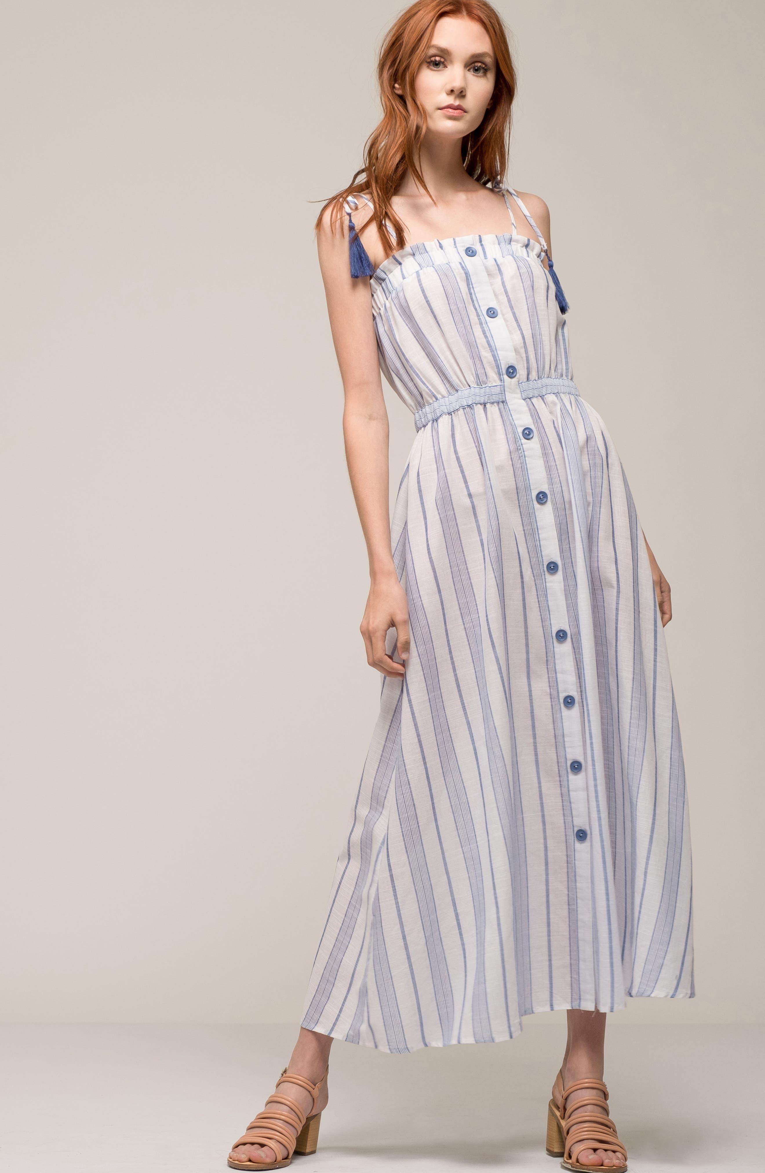 Stripe Tie Strap Dress,                             Alternate thumbnail 8, color,                             SKY STRIPE