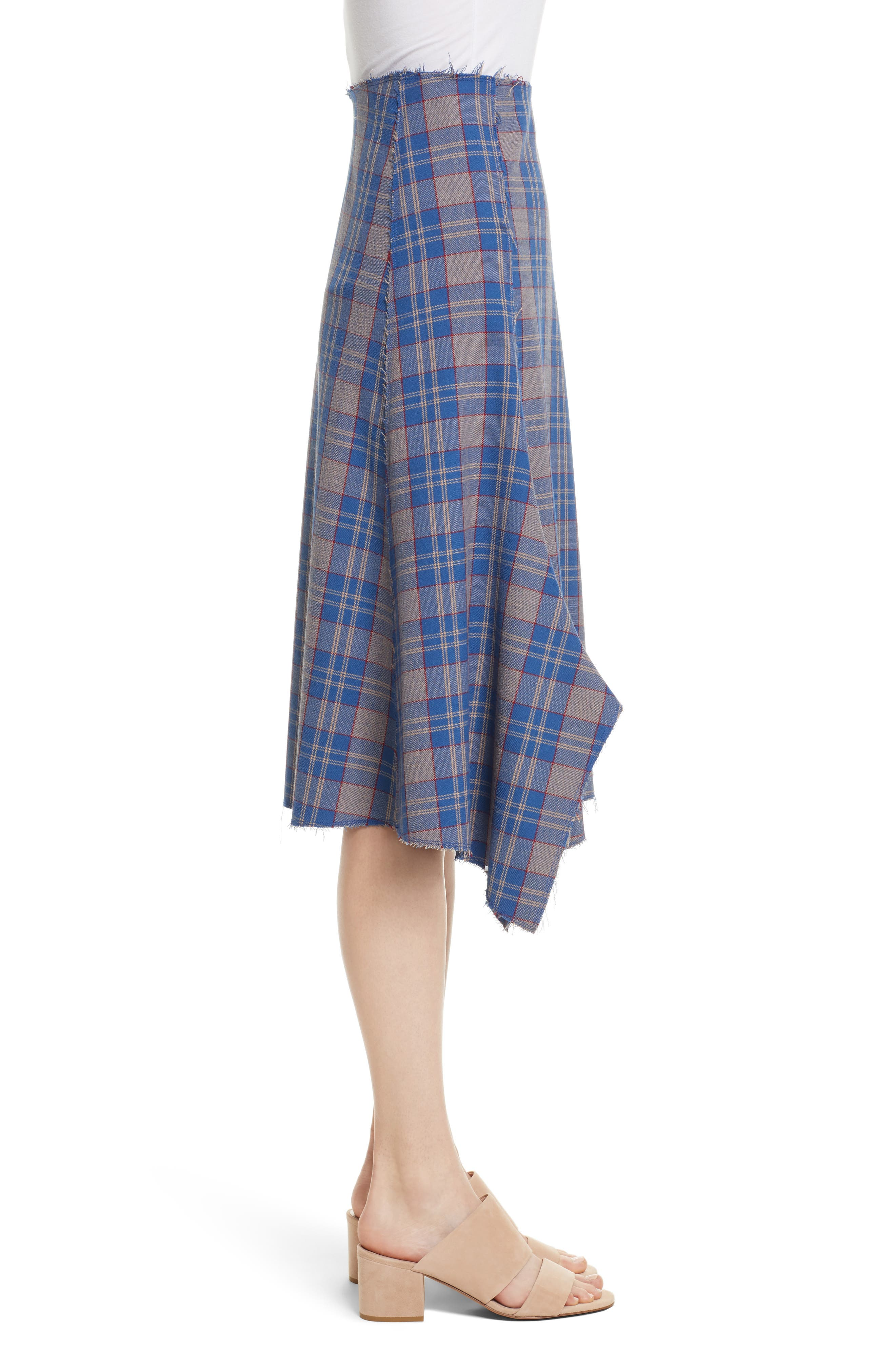 Asymmetric Plaid Midi Skirt,                             Alternate thumbnail 3, color,