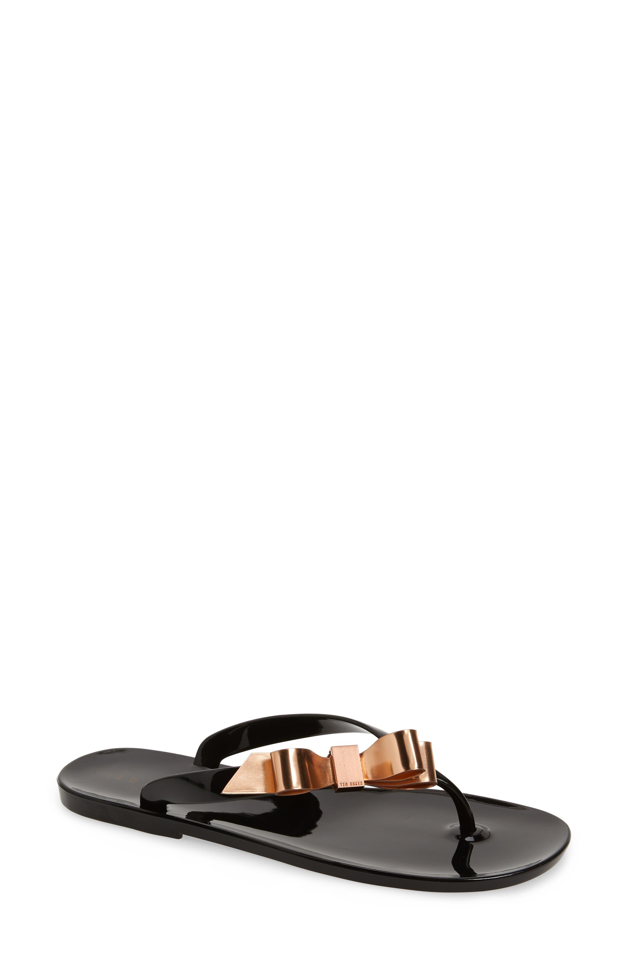 Suszie Flip Flop, Main, color, BLACK/ CREAM RUBBER