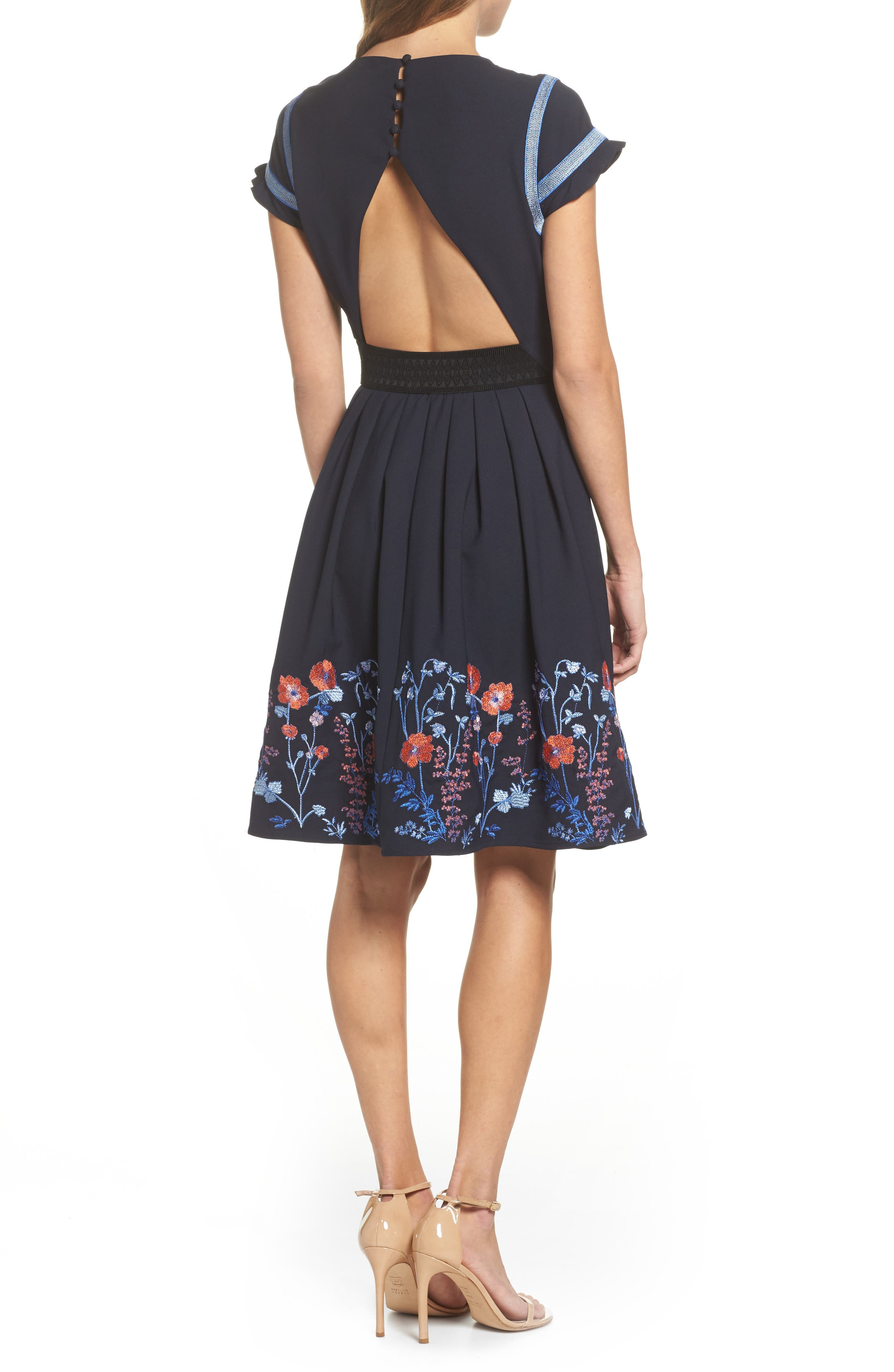 Senna Embroidered Fit & Flare Dress,                             Alternate thumbnail 2, color,                             400