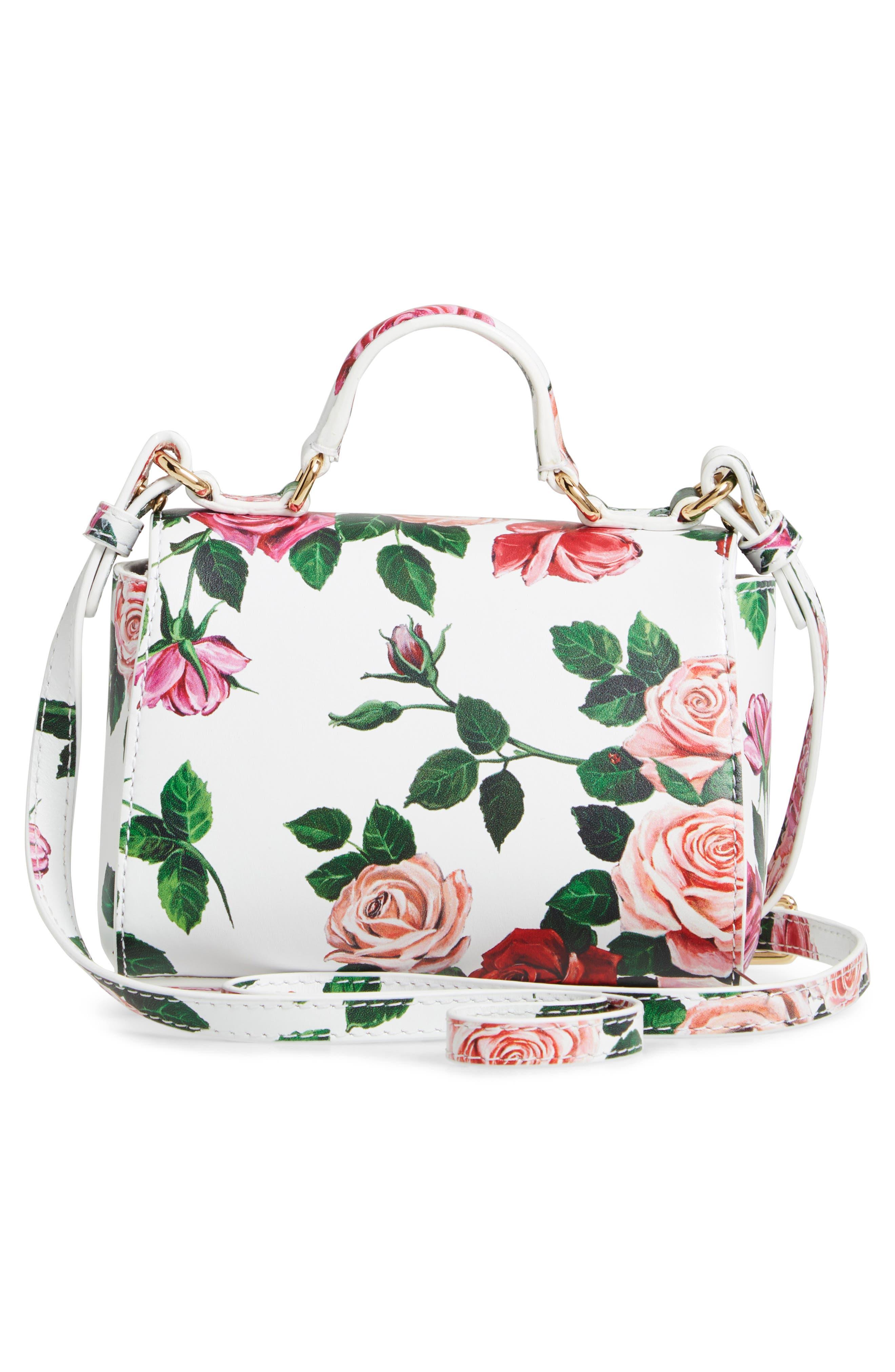 DOLCE&GABBANA,                             Floral Print Handbag,                             Alternate thumbnail 2, color,                             MIX ROSE FDO BCO NAT