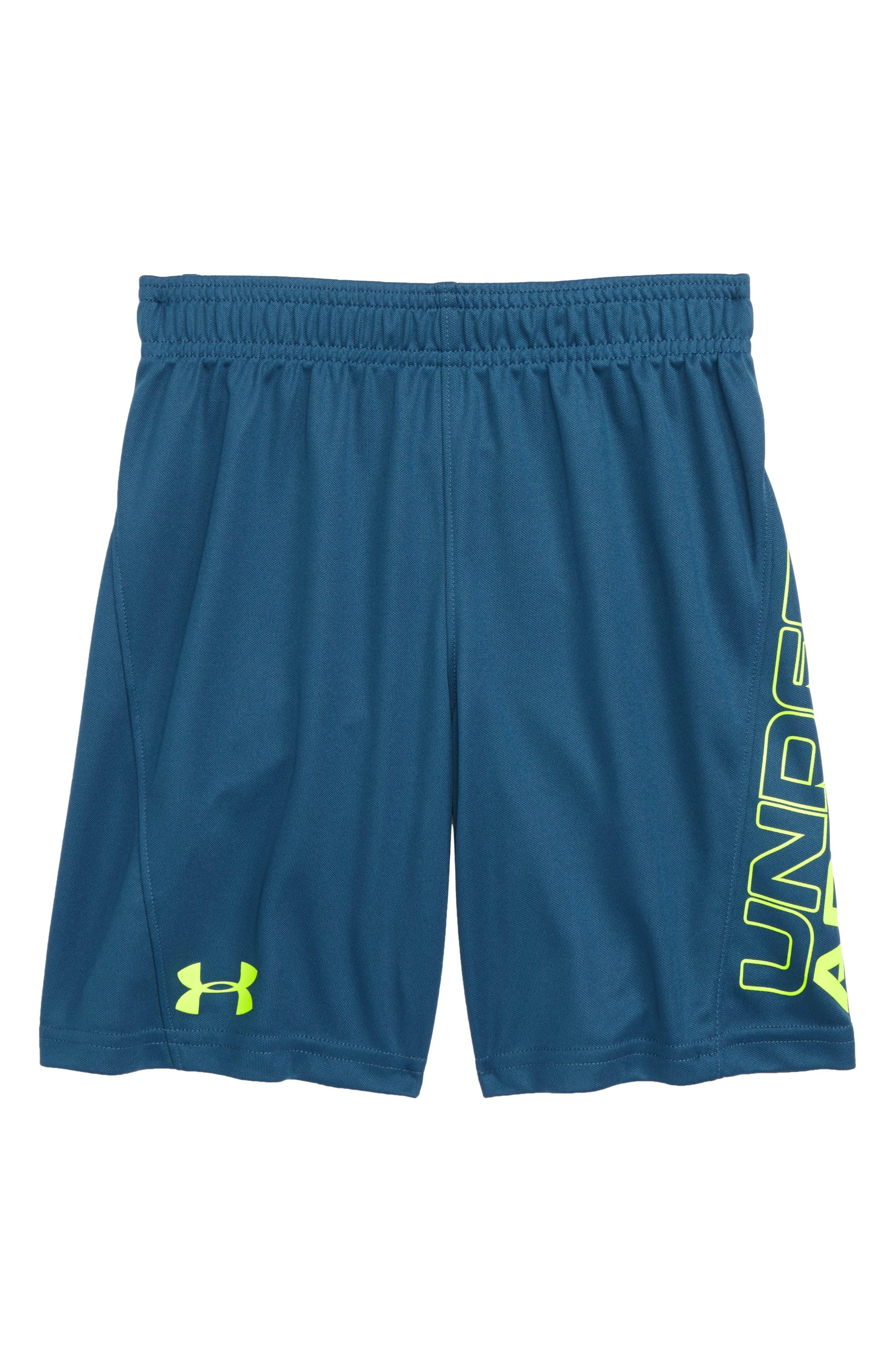UNDER ARMOUR,                             Kick Off HeatGear<sup>®</sup> Athletic Shorts,                             Main thumbnail 1, color,                             PETROL BLUE