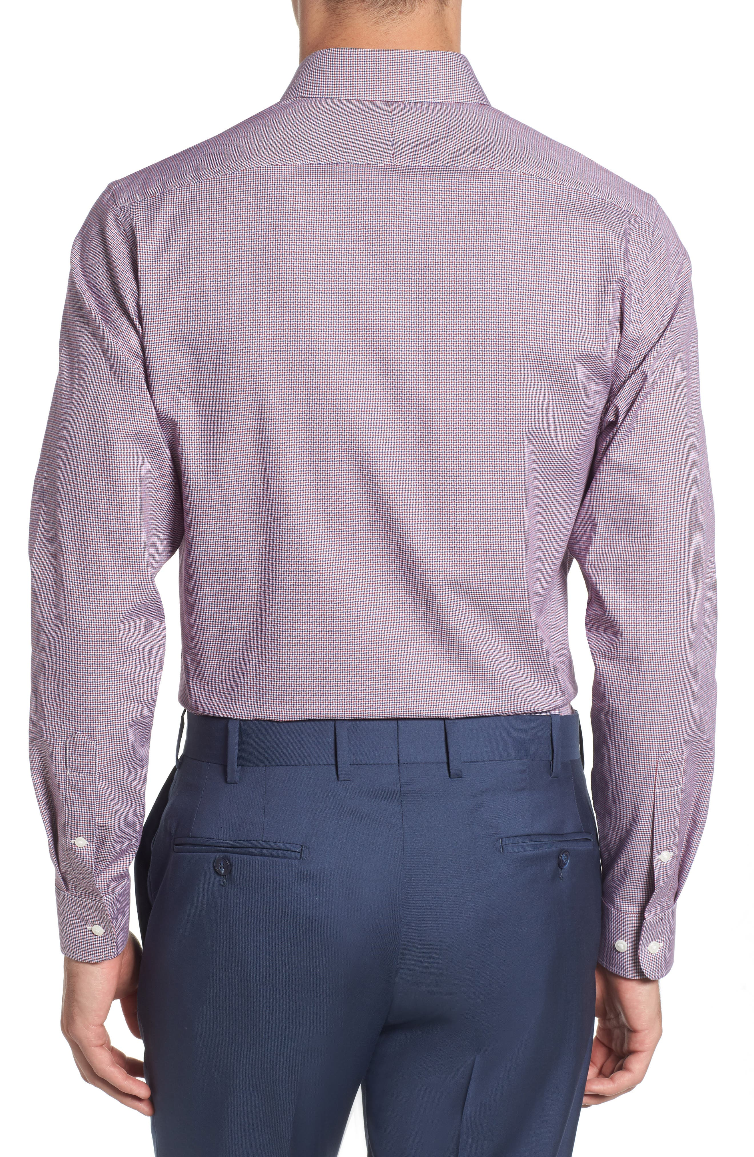 Trim Fit Check Dress Shirt,                             Alternate thumbnail 3, color,                             RED RUBY