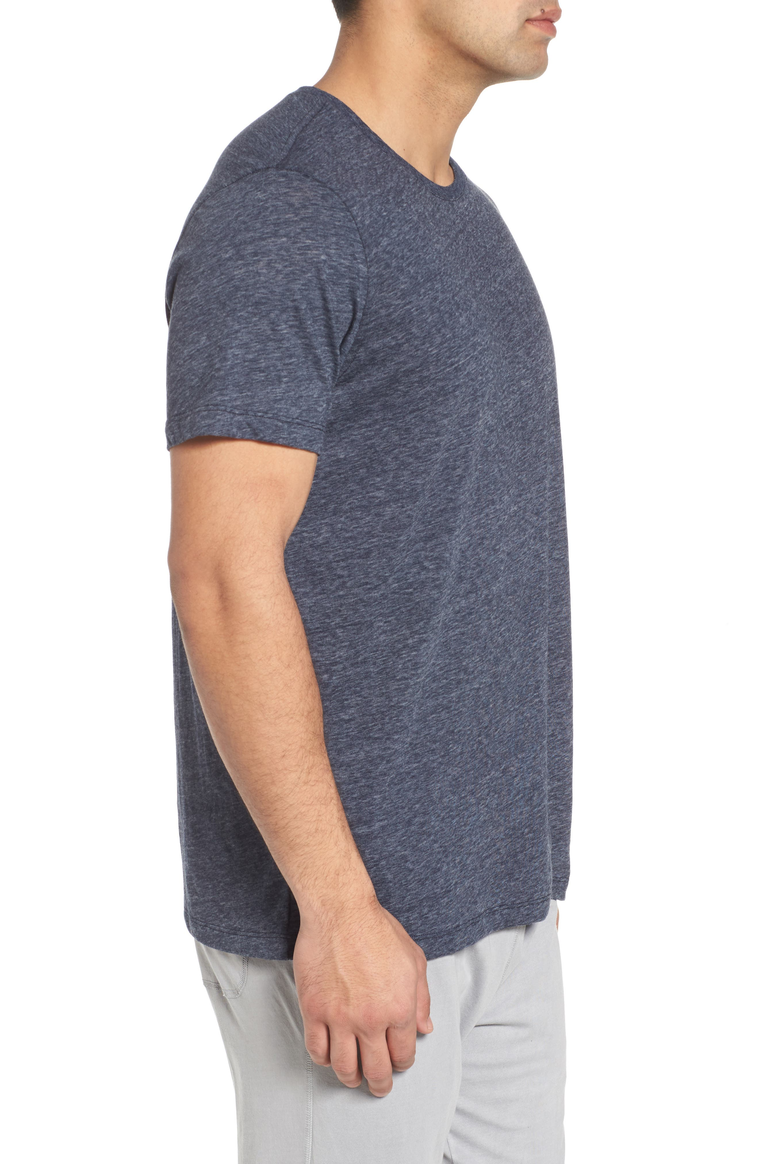 Recycled Cotton Blend T-Shirt,                             Alternate thumbnail 3, color,                             NAVY HEATHER