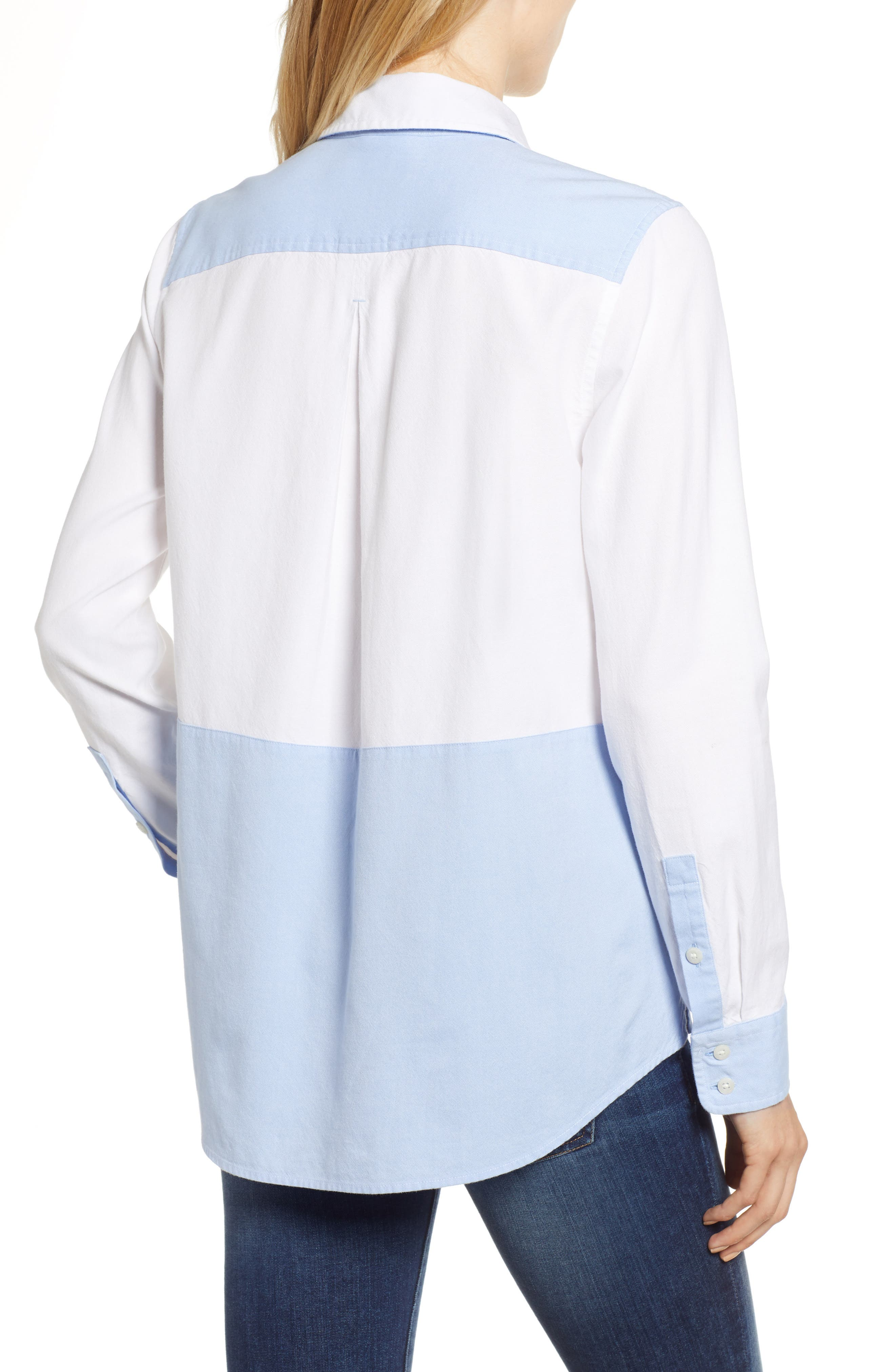 Colorblock Relaxed Oxford Blouse,                             Alternate thumbnail 2, color,                             WHITE CAP