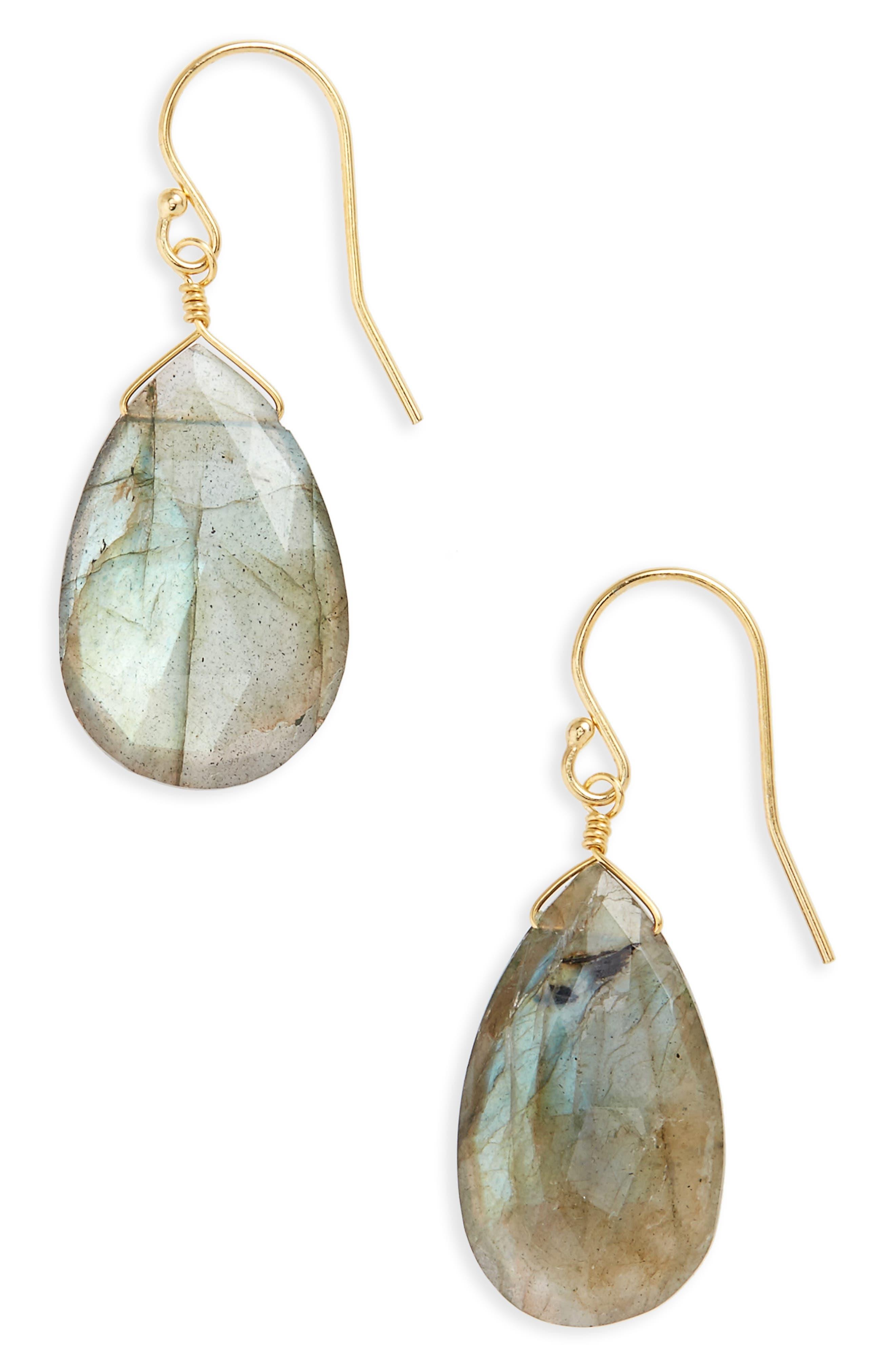 Semiprecious Pear Drop Earrings,                             Main thumbnail 1, color,                             710