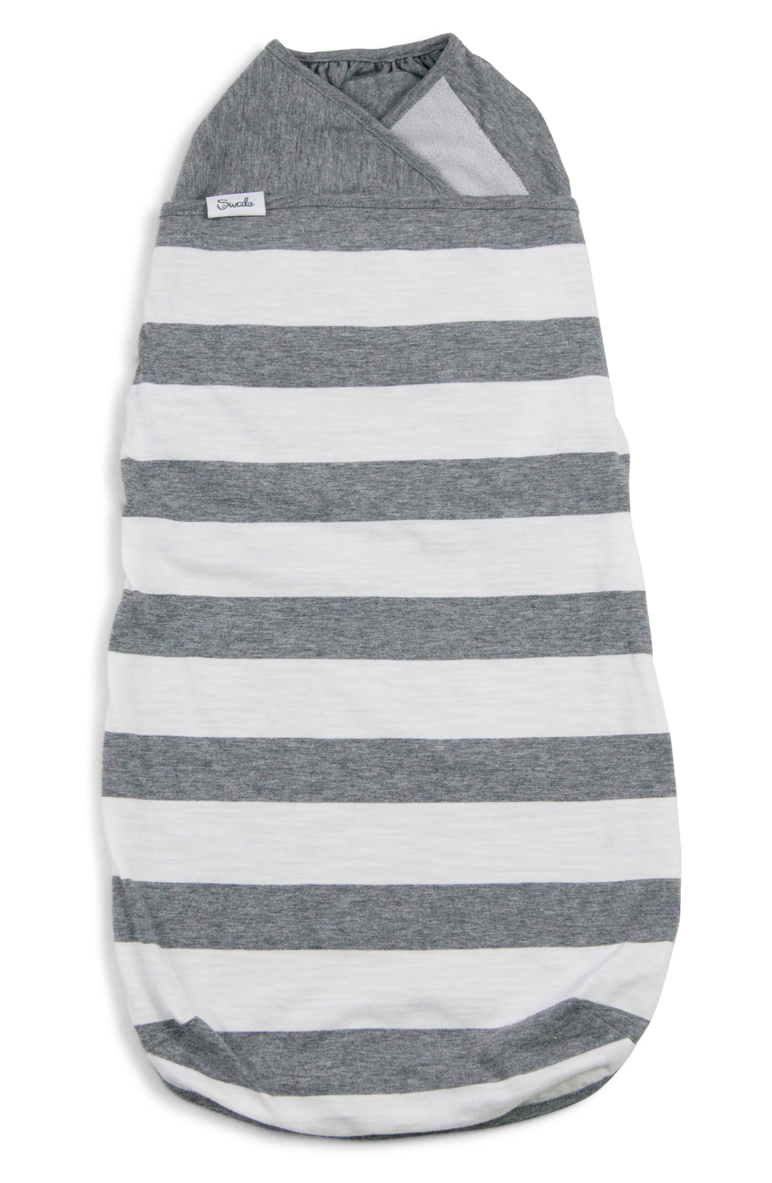 Stripe Wearable Swaddle,                             Main thumbnail 1, color,                             GREY/ WHITE STRIPE