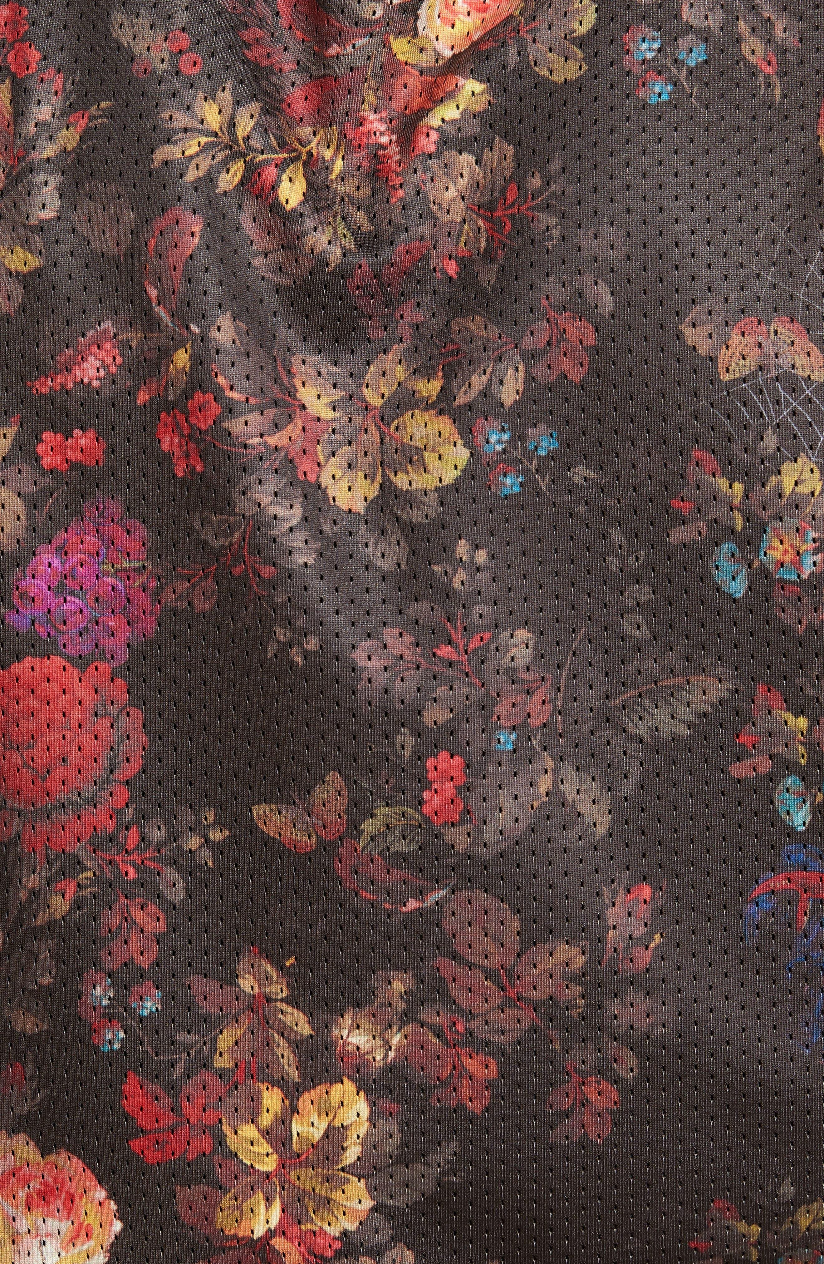 Nike Dry Reversible Floral Mesh Tank,                             Alternate thumbnail 6, color,                             BLACK/ WHITE