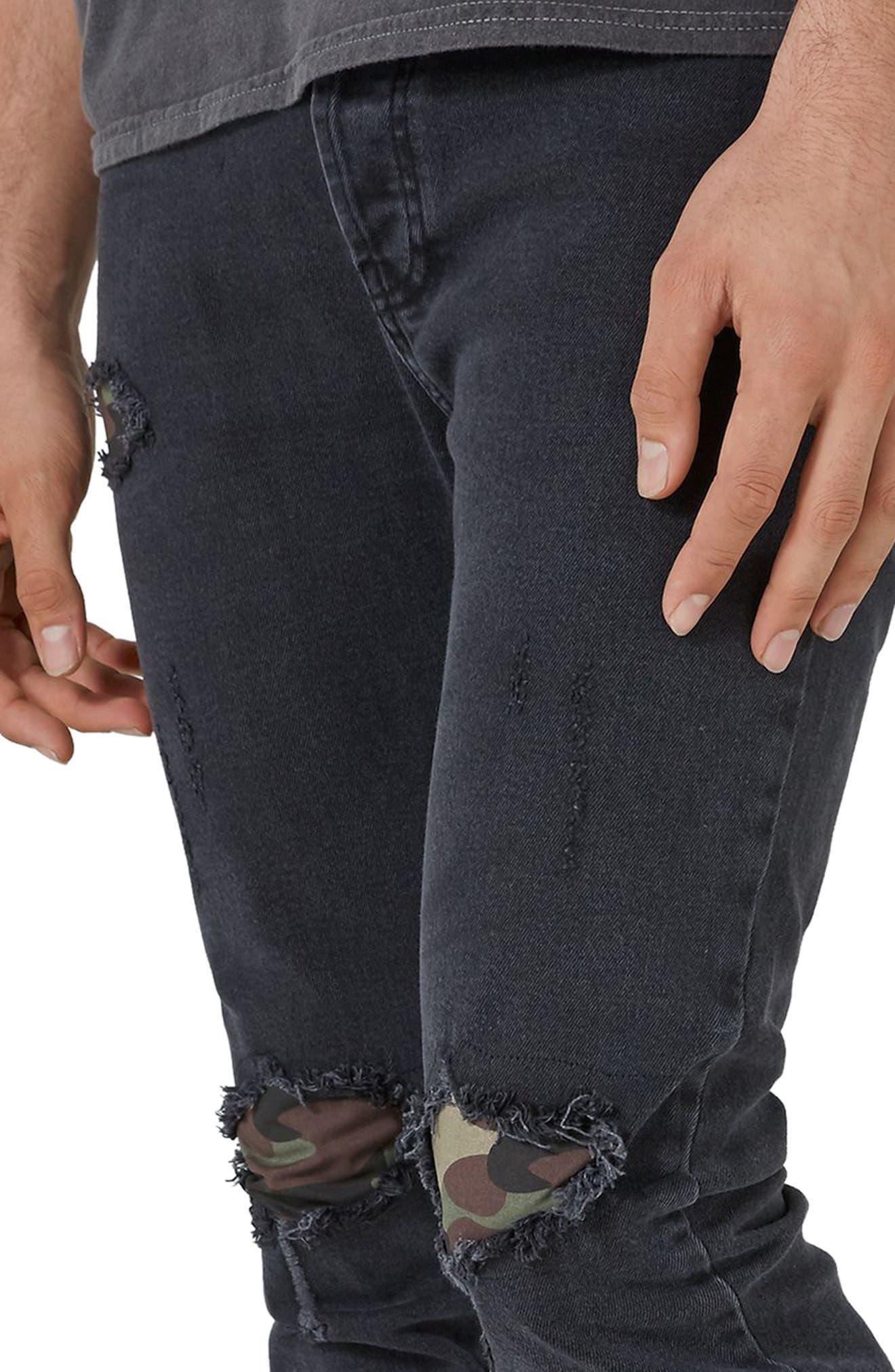Camo Patch Skinny Jeans,                             Alternate thumbnail 3, color,                             001
