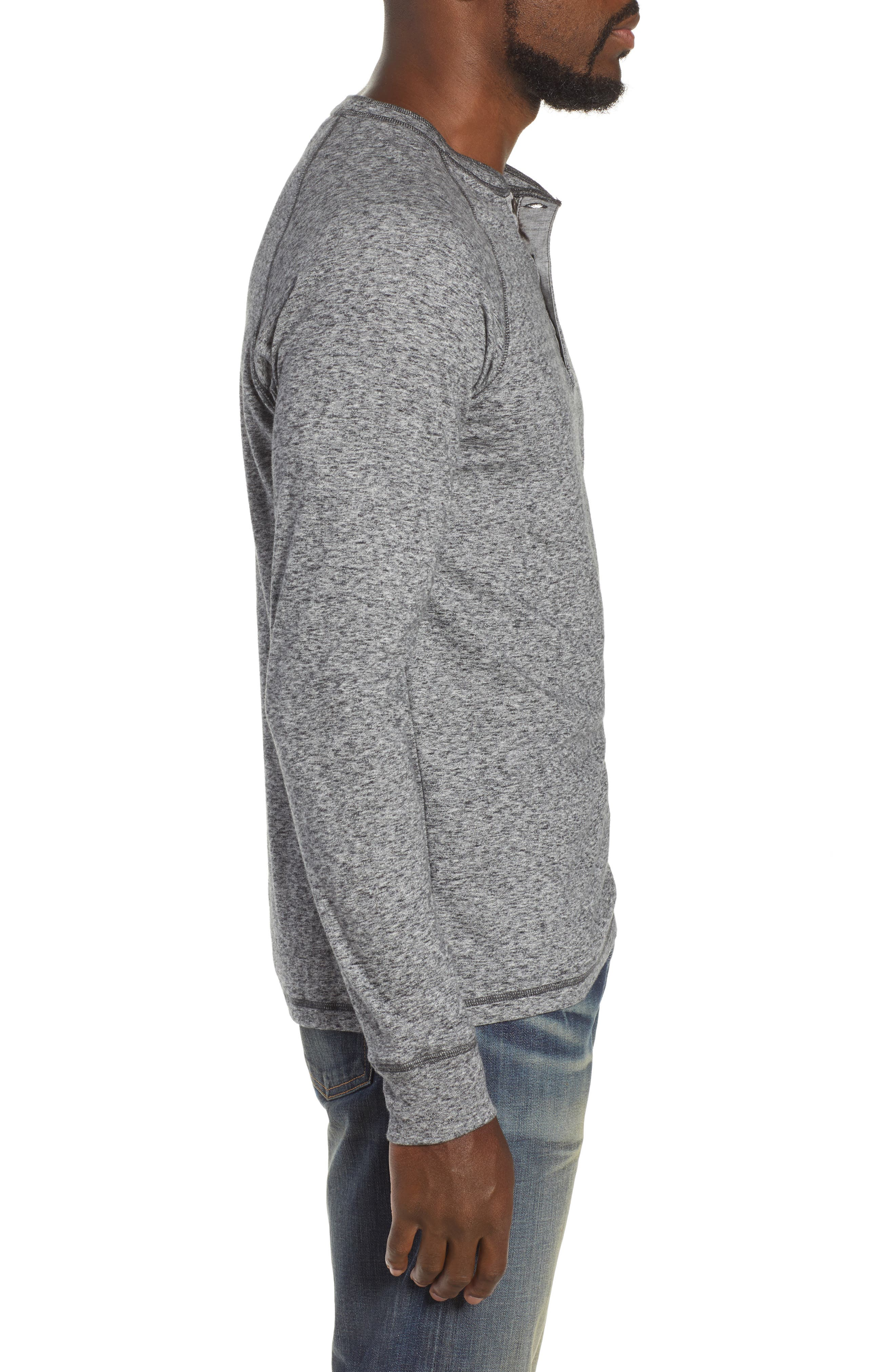 Luxe Heather Knit Organic Cotton Henley,                             Alternate thumbnail 3, color,                             CHARCOAL